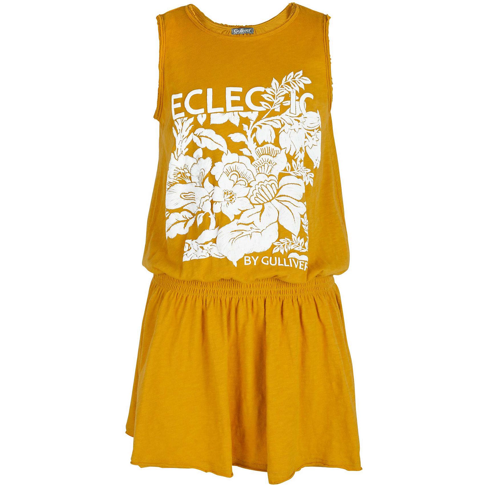 Платье для девочки GulliverПлатья и сарафаны<br>Замечательный сарафан для жаркого лета наверняка оценит и сама модница, и ее мама. Легкий, удобный, комфортный, сарафан создаст прекрасный внешний вид и подарит свободу движений. Трикотажное полотно обеспечит красивое и комфортное прилегание к телу, расклешенная юбка сделает образ девочки нежным и женственным. Белый объемный принт - яркий цветовой акцент модели, создающий настроение. Одним словом, если вы планируете купить сарафан на каждый день для красоты и комфорта ребенка, эта модель - то, что нужно!<br>Состав:<br>100% хлопок<br><br>Ширина мм: 236<br>Глубина мм: 16<br>Высота мм: 184<br>Вес г: 177<br>Цвет: желтый<br>Возраст от месяцев: 108<br>Возраст до месяцев: 120<br>Пол: Женский<br>Возраст: Детский<br>Размер: 140,122,128,134<br>SKU: 5484021