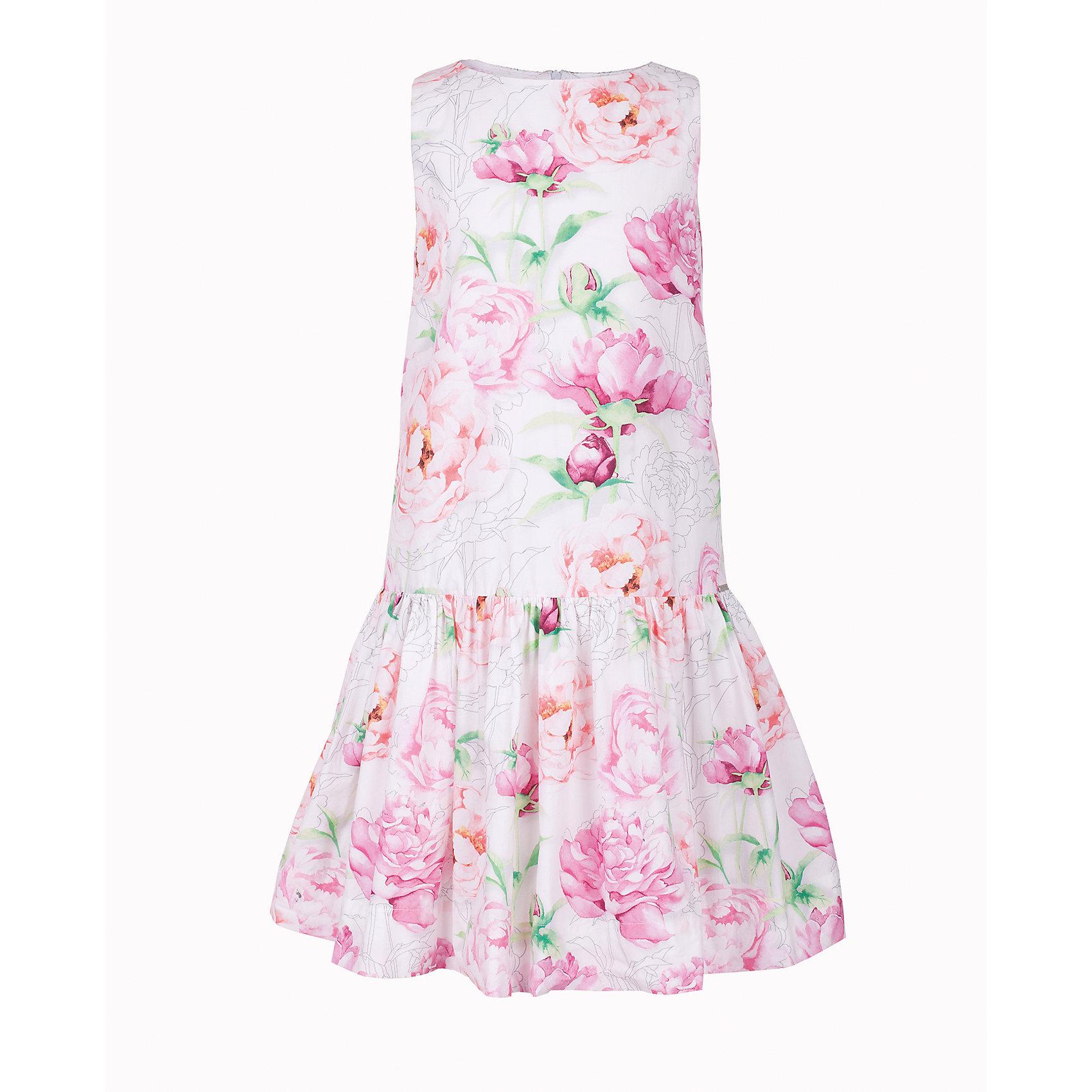 Платье для девочки GulliverЛетние платья и сарафаны<br>Ох уж, эти модницы... Их летний гардероб пестрит нарядами, но разве можно пройти мимо нового платья в цветочек? Простой удобный крой с лихвой компенсируется оригинальным дизайном ткани. Крупный цветочный рисунок, созданный в благородных пастельных тонах, выглядит интересно и привлекательно. Платье на тонкой хлопковой подкладке очень комфортно и приятно к телу. Если вы хотите купить платье для девочки, чтобы освежить гардероб ребенка, сделав его ярким, практичным и позитивным, эта модель - лучшее решение для каждого дня жаркого лета!<br>Состав:<br>верх:                100% хлопок; подкладка:                      100% хлопок<br><br>Ширина мм: 236<br>Глубина мм: 16<br>Высота мм: 184<br>Вес г: 177<br>Цвет: белый<br>Возраст от месяцев: 108<br>Возраст до месяцев: 120<br>Пол: Женский<br>Возраст: Детский<br>Размер: 140,122,128,134<br>SKU: 5484123