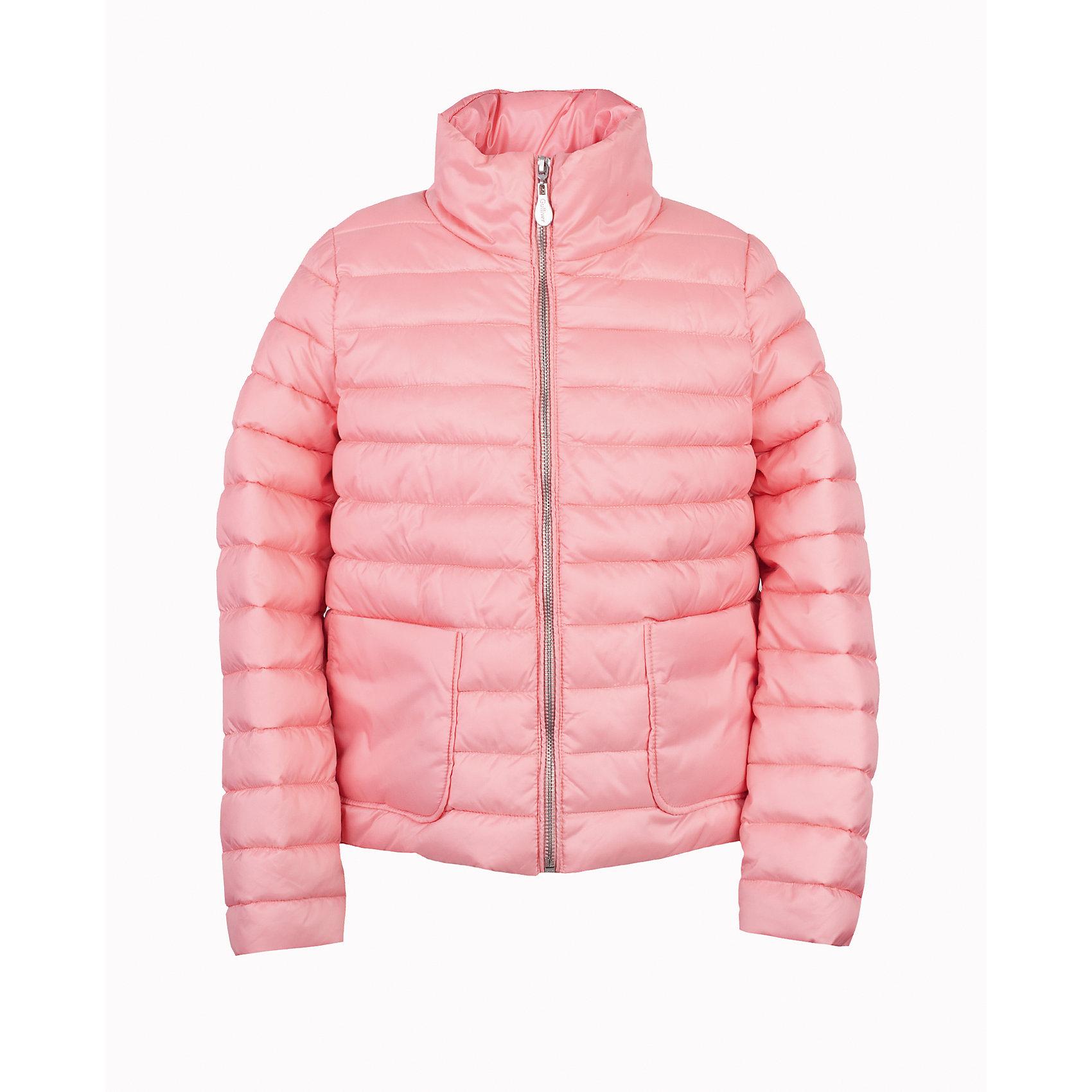 Куртка для девочки GulliverВерхняя одежда<br>Прошли времена, когда детская куртка выполняла исключительно функциональную роль. Сейчас изделию недостаточно быть только удобным и теплым. Куртка для девочки должна быть яркой, элегантной, привлекательной и отражать в полной мере характер и предпочтения юной модницы! Именно такая, стеганая розовая куртка, с удлиненной линией спинки и крупными накладными карманами, может понравиться своей обладательнице. Если вы предпочитаете сформировать весенний гардероб ребенка из светлых, свежих, позитивных вещей, несмотря на непогоду и слякоть, вам стоит купить детскую куртку из коллекции Цветные истории и вы об этом не пожалеете!<br>Состав:<br>верх:               100% полиэстер; подкладка:           50% хлопок       50% полиэстер; утеплитель: иск.пух          100% полиэстер<br><br>Ширина мм: 356<br>Глубина мм: 10<br>Высота мм: 245<br>Вес г: 519<br>Цвет: розовый<br>Возраст от месяцев: 108<br>Возраст до месяцев: 120<br>Пол: Женский<br>Возраст: Детский<br>Размер: 140,122,128,134<br>SKU: 5484143