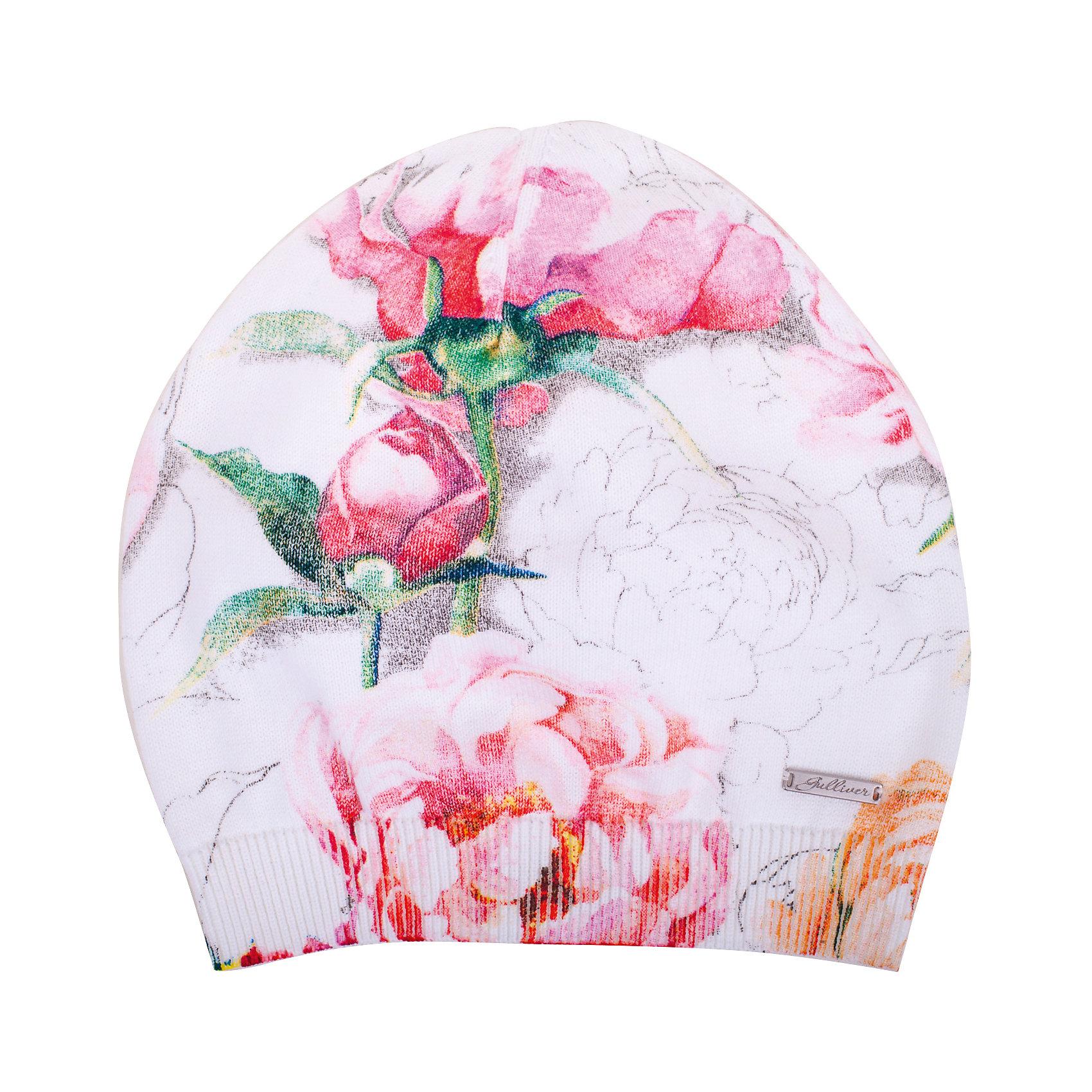 Шапка для девочки GulliverГоловные уборы<br>Стильная трикотажная шапка дополнит повседневный образ ребенка. Мягкая, легкая, комфортная, шапка с крупным цветочным рисунком, выполненным в технике принта, отлично разместится  в кармане ветровки или жилетки, чтобы в любой момент защитить юную модницу от непогоды и ветра.<br>Состав:<br>100% хлопок<br><br>Ширина мм: 89<br>Глубина мм: 117<br>Высота мм: 44<br>Вес г: 155<br>Цвет: белый<br>Возраст от месяцев: 48<br>Возраст до месяцев: 60<br>Пол: Женский<br>Возраст: Детский<br>Размер: 52,54<br>SKU: 5484156