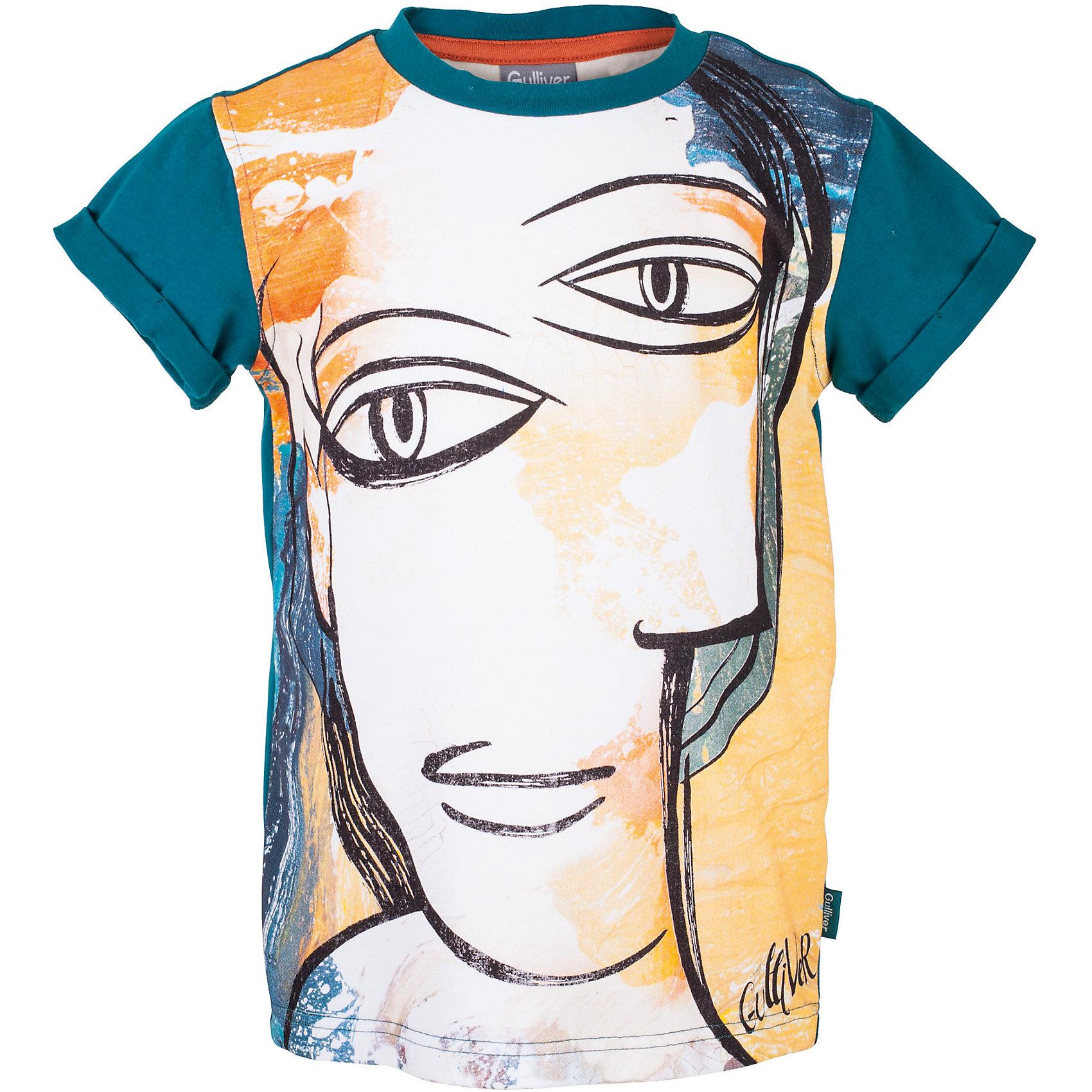 Футболка для мальчика GulliverФутболки, поло и топы<br>Если вы устали от цифр, букв и других популярных изображений и хотите сформировать летний гардероб ребенка из оригинальных и выразительных вещей, коллекция Пикассо для вас. Интересный принт, лихо выполненный дизайнером Gulliver по мотивам творчества известного художника, делают эту футболку яркой и запоминающейся. Футболка из мягкого трикотажного полотна не сковывает движений, позволяя ребенку быть самим собой. Если вы решили купить футболку для мальчика, но сомневаетесь в правильности выбора, футболка из коллекции Пикассо - отличный вариант! Это свежая необычная модель, которая может стать доминантой стильного летнего образа.<br>Состав:<br>95% хлопок      5% эластан<br><br>Ширина мм: 199<br>Глубина мм: 10<br>Высота мм: 161<br>Вес г: 151<br>Цвет: голубой<br>Возраст от месяцев: 84<br>Возраст до месяцев: 96<br>Пол: Мужской<br>Возраст: Детский<br>Размер: 128,140,122,134<br>SKU: 5484193