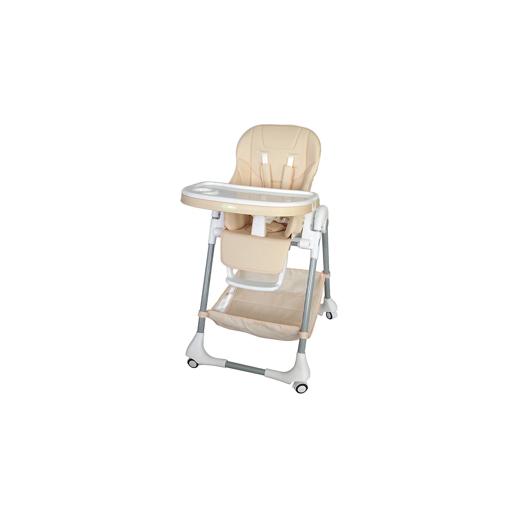 Стульчик для кормления, Aricare, Beigeот +6 месяцев<br>Функциональный стульчик для кормления, сиденье которого изготовлено из качественного кожзаменителя. Для детей от 5-6 месяцев до 4-5 лет (Максимальный вес до 25 кг). Элегантные расцветки легко впишутся в интерьер кухни или гостиной. Обладает всеми необходимыми регулировками, которые позволят Вам с малышом в полной мере насладиться временем, проведенным вместе. Легко перемещается по квартире за счет колес на всех 4 ножках, оснащены стопорами.<br><br>Подробное описание стульчика для кормления Aricare 1014-B<br><br>просторное сиденье из экологичного, гипоаллергенного кожзаменителя<br>съемная обивка легко поддается чистке влажной тряпкой<br>легко передвигать по квартире за счет 4 колес со стопорами<br>рассчитан на долгий период использования - с 6 месяцев до максимального веса в 25 кг<br>при наклоне сиденья угол между сиденьем и спинкой увеличивается, и малыш может вытянуть ножки и вздремнуть.<br>большая и удобная съемная двойная столешница, регулируемая по глубине (3 положения), размеры 63*30, на ножках предусмотрены специальные крепления для снятой столешницы <br>удобные 5-ти точечные ремни безопасности с мягкими плечевыми накладками<br>центральный замок на ремнях безопасности<br>удобное и просторное сиденье: ширина 27см, глубина 23 смвысота сиденья от пола: от 27см до 64 см (7 положений)<br>регулируемая в трех положениях подножка (длина 15 см, вместе с сиденьем образуют ровную поверхность)<br>оснащен дополнительной защитой от выскальзывания ребенка<br>регулировка по высоте (от 84 до 105 см)регулировка по наклону (5 положений), <br>включая положение для отдыха, легко меняется одной рукой<br>просторная корзина и кармашек для мелочей<br>легко складывается и раскладывается, компактен в сложенном состоянии (84 х 30 см)в сложенном состоянии стоит вертикально<br>стульчик складывается вместе со столешницей<br>устойчив, (ширина по колесикам 57 х 72 см)<br>Сертификат международного образца SGS EN1888 и Сертификат Таможенног