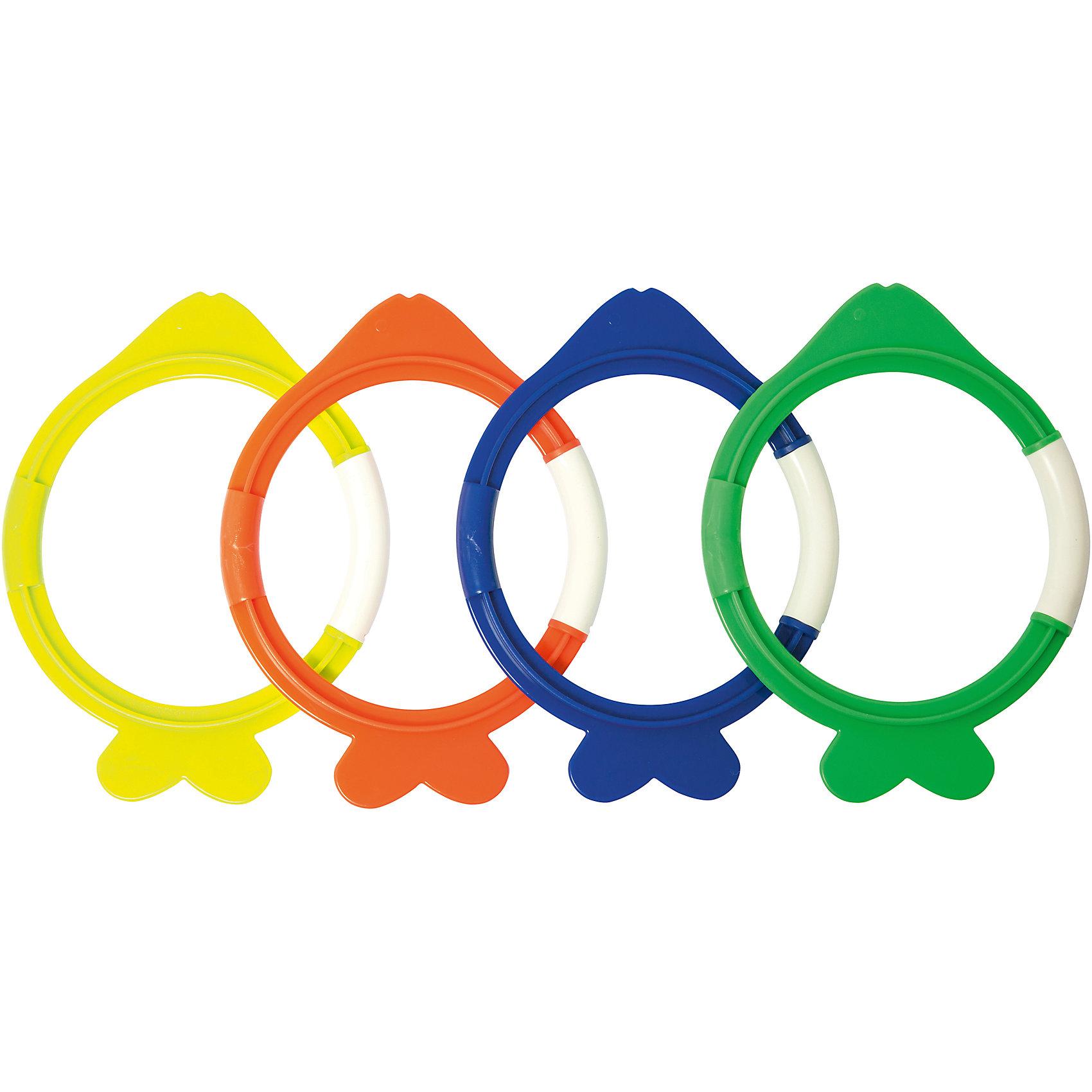Набор колец для ныряния Dive Fish, BestwayОчки, маски, ласты, шапочки<br>Набор колец для ныряния Dive Fish, Bestway (Бествей)<br><br>Характеристики:<br><br>• с кольцами можно устроить увлекательные соревнования для начинающих дайверов<br>• в комплекте: 4 кольца разных цветов<br>• материал: пластик<br>• размер упаковки: 23х25,5х61,5 см<br>• вес: 238 грамм<br><br>С набором колец Dive Fish вы сможете устроить настоящие соревнования для юных пловцов. Основание кольца находится внизу бассейна или водоема. Задача игрока - достать кольцо нужного цвета. Кроме того, вы сможете самостоятельно придумать различные игры, которые понравятся вашей семье. Отличное решение для активного отдыха!<br><br>Набор колец для ныряния Dive Fish, Bestway (Бествей) можно купить в нашем интернет-магазине.<br><br>Ширина мм: 615<br>Глубина мм: 255<br>Высота мм: 230<br>Вес г: 238<br>Возраст от месяцев: 36<br>Возраст до месяцев: 2147483647<br>Пол: Унисекс<br>Возраст: Детский<br>SKU: 5486863