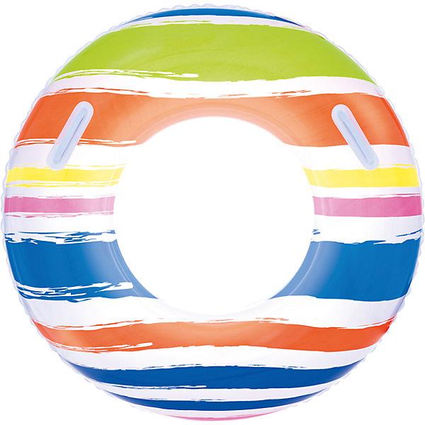 Круг для плавания в полоску, с ручками, 91 см, BestwayКруги и нарукавники<br>Круг для плавания в полоску, с ручками, 91 см, Bestway (Бествей)<br><br>Характеристики:<br><br>• изготовлен из прочных материалов<br>• удобные прочные ручки<br>• яркий дизайн<br>• диаметр: 91 см<br>• вес: 316 грамм<br>• Внимание! Круг в ассортименте, нет возможно выбрать товар конкретной расцветки. При заказе нескольких штук возможно получение одинаковых.<br><br>С надувным кругом плавание ребенка пройдет максимально комфортно. Круг оснащен двумя ручками на верхней камере. Ребенок сможет держаться за них, а родители направлять пловца, следя за его передвижением по воде. Круг имеет привлекательный яркий дизайн в полоску, который обязательно поднимет настроение во время отдыха.<br><br>Круг для плавания в полоску, с ручками, 91 см, Bestway (Бествей) можно купить в нашем интернет-магазине.<br>Ширина мм: 320; Глубина мм: 290; Высота мм: 240; Вес г: 316; Возраст от месяцев: 120; Возраст до месяцев: 2147483647; Пол: Унисекс; Возраст: Детский; SKU: 5486886;