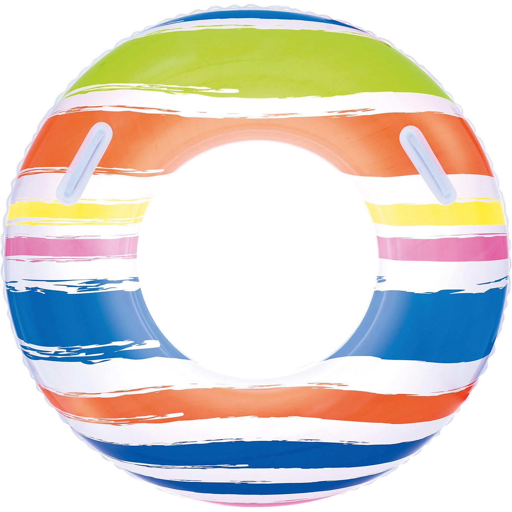 Круг для плавания в полоску, с ручками, 91 см, BestwayКруги и нарукавники<br>Круг для плавания в полоску, с ручками, 91 см, Bestway (Бествей)<br><br>Характеристики:<br><br>• изготовлен из прочных материалов<br>• удобные прочные ручки<br>• яркий дизайн<br>• диаметр: 91 см<br>• вес: 316 грамм<br>• Внимание! Круг в ассортименте, нет возможно выбрать товар конкретной расцветки. При заказе нескольких штук возможно получение одинаковых.<br><br>С надувным кругом плавание ребенка пройдет максимально комфортно. Круг оснащен двумя ручками на верхней камере. Ребенок сможет держаться за них, а родители направлять пловца, следя за его передвижением по воде. Круг имеет привлекательный яркий дизайн в полоску, который обязательно поднимет настроение во время отдыха.<br><br>Круг для плавания в полоску, с ручками, 91 см, Bestway (Бествей) можно купить в нашем интернет-магазине.<br><br>Ширина мм: 320<br>Глубина мм: 290<br>Высота мм: 240<br>Вес г: 316<br>Возраст от месяцев: 120<br>Возраст до месяцев: 2147483647<br>Пол: Унисекс<br>Возраст: Детский<br>SKU: 5486886