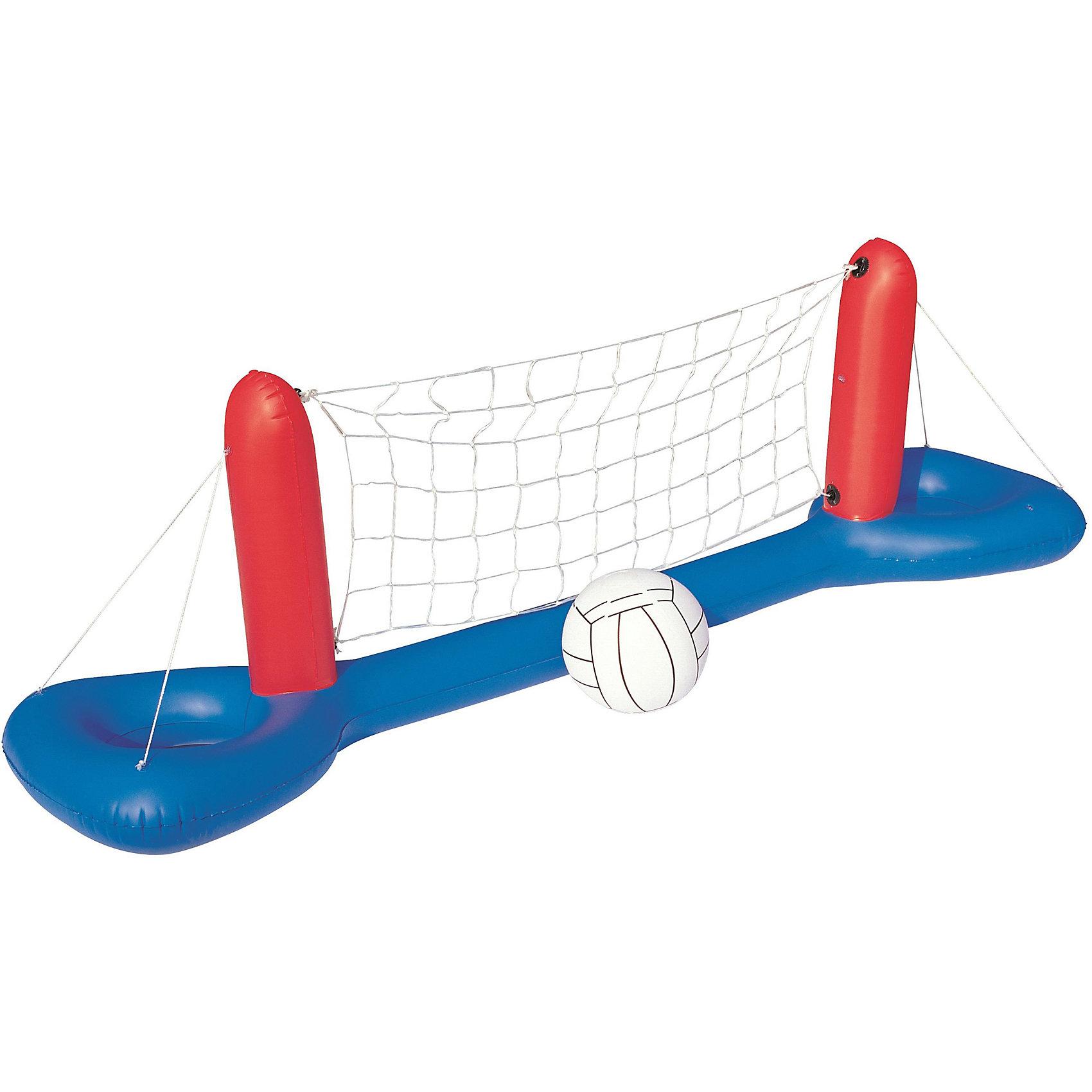 Волейбольный набор сетка + мяч, BestwayИгровые наборы<br>Волейбольный набор сетка + мяч, Bestway (Бествей)<br><br>Характеристики:<br><br>• прочные материалы<br>• в комплекте: сетка, мяч, заплатка<br>• материал: ПВХ, нейлон<br>• размер: 244х64 см<br>• вес:  983 грамма<br><br>С волейбольным набором Bestway вы сможете устроить увлекательные игры в бассейне или водоеме. Сборка принадлежностей не займет у вас много времени и сил. Сетка изготовлена из высококачественного нейлона. Стека - из прочного поливинилхлорида. В комплект входит заплатка для ремонта.<br><br>Волейбольный набор сетка + мяч, Bestway (Бествей) вы можете купить в нашем интернет-магазине.<br><br>Ширина мм: 480<br>Глубина мм: 360<br>Высота мм: 260<br>Вес г: 983<br>Возраст от месяцев: 36<br>Возраст до месяцев: 2147483647<br>Пол: Унисекс<br>Возраст: Детский<br>SKU: 5486899