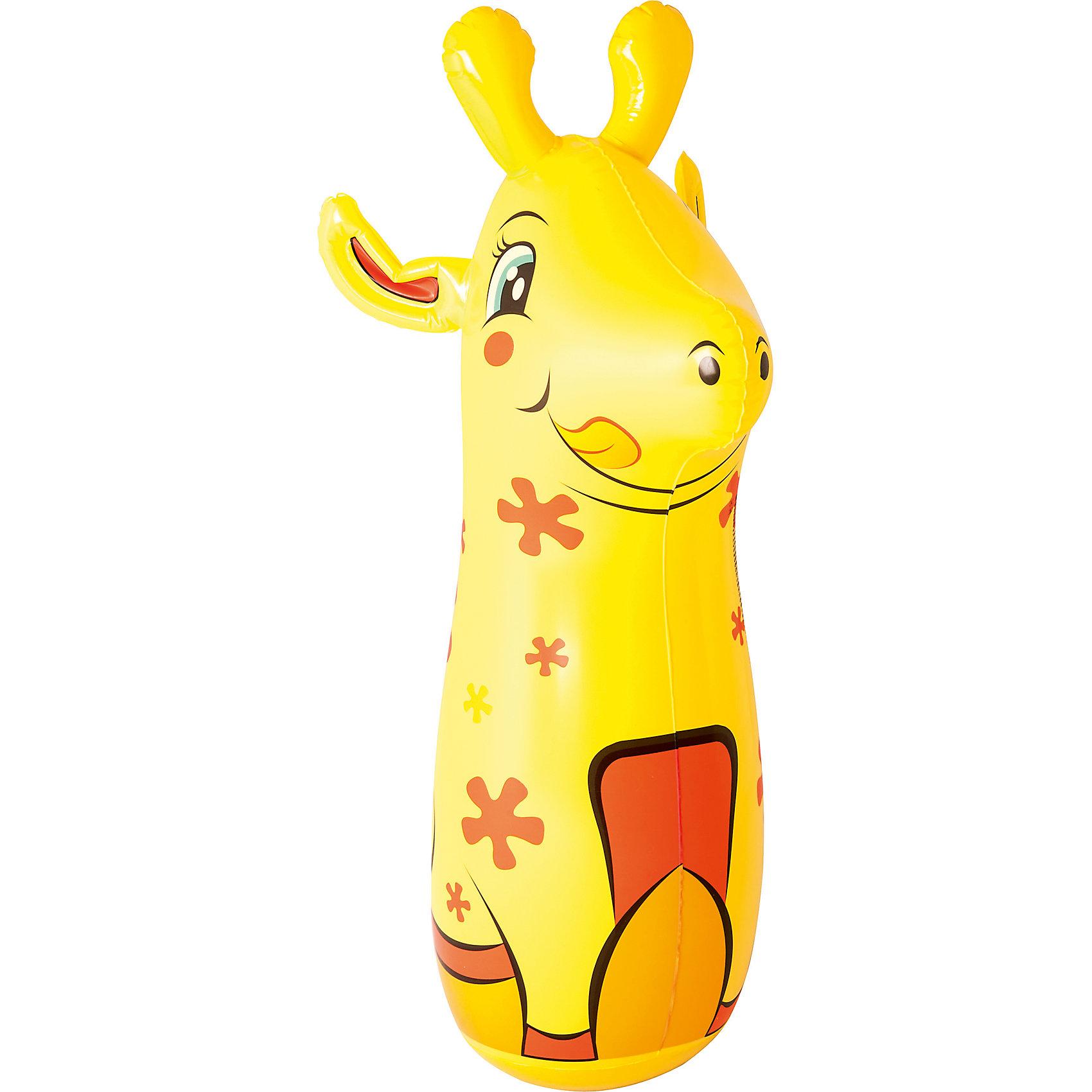 Надувная игрушка для боксирования Жираф, 91 см, BestwayИгровые наборы<br>Надувная игрушка для боксирования Жираф, 91 см, Bestway (Бествей)<br><br>Характеристики:<br><br>• легкая и устойчивая<br>• способствует физическому развитию<br>• развивает навыки обороны<br>• привлекательный дизайн в виде жирафа<br>• высота: 91 см<br>• размер упаковки: 4,5х19,5х20 см<br>• вес: 1,11 кг<br><br>Надувная игрушка Bestway подойдет для игр на суше и в воде. Она изготовлена из прочного поливинилхлорида, который справится с большими нагрузками. Для установки игрушки достаточно надуть ее и заполнить небольшим количеством воды через специальное отверстие. Игрушка выполнена в виде забавного жирафа, который непременно впечатлит ребенка. Игра способствует физическому развитию, укреплению мышц и развивает навыки обороны. <br><br>Надувную игрушку для боксирования Жираф, 91 см, Bestway (Бествей) вы можете купить в нашем интернет-магазине.<br><br>Ширина мм: 270<br>Глубина мм: 220<br>Высота мм: 220<br>Вес г: 1110<br>Возраст от месяцев: 36<br>Возраст до месяцев: 2147483647<br>Пол: Унисекс<br>Возраст: Детский<br>SKU: 5486901