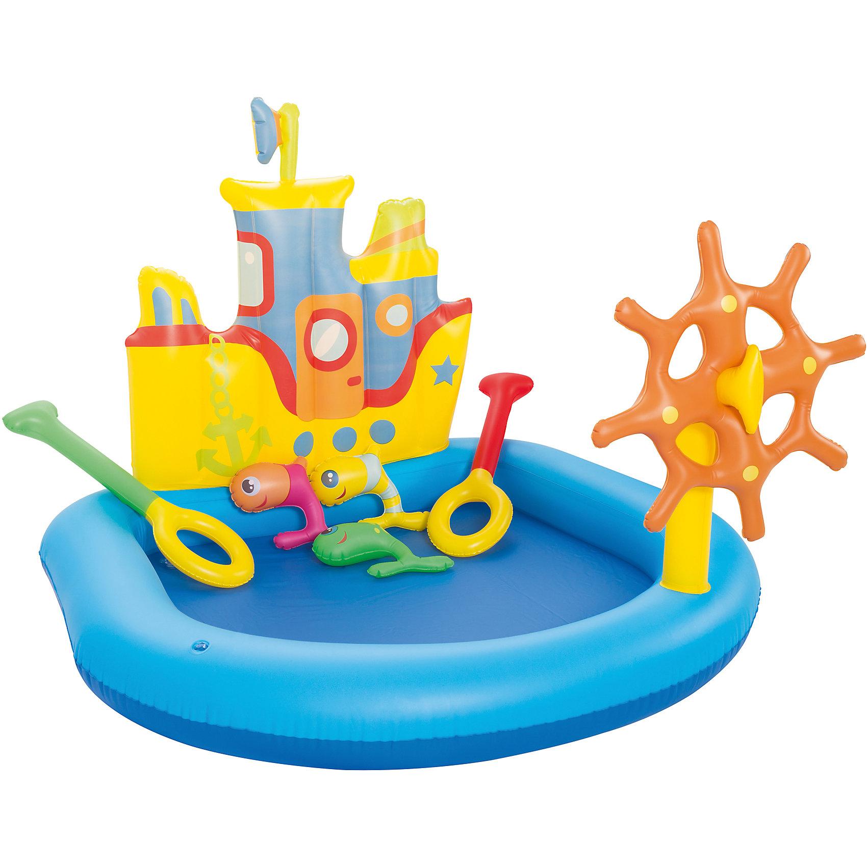 Игровой бассейн Кораблик с принадлежностями для игр, BestwayБассейны<br>Игровой бассейн Кораблик с принадлежностями для игр, Bestway (Бествей)<br><br>Характеристики: <br><br>• большой центр для игр с водой<br>• прочные материалы<br>• есть сливное отверстие<br>• в комплекте: кораблик, 2 весла, 3 рыбки, заплатка<br>• объем: 84 литра<br>• материал: ПВХ<br>• размер: 140х130х104 см<br>• вес: 1912 грамм<br>• размер упаковки: 7х30х29,5 см<br><br>Игровой бассейн позволит вашему ребенку весело провести время на свежем воздухе. Бассейн выполнен в виде корабля со штурвалом и площадкой для игры. В комплект входят два весла и три рыбки разных цветов. Ребенок сможет представить себя настоящим капитаном и устроить веселые игры в воде. Бассейн можно установить на любом участке .<br><br>Игровой бассейн Кораблик с принадлежностями для игр, Bestway (Бествей) вы можете купить в нашем интернет-магазине.<br><br>Ширина мм: 450<br>Глубина мм: 315<br>Высота мм: 320<br>Вес г: 1912<br>Возраст от месяцев: 24<br>Возраст до месяцев: 2147483647<br>Пол: Унисекс<br>Возраст: Детский<br>SKU: 5486905