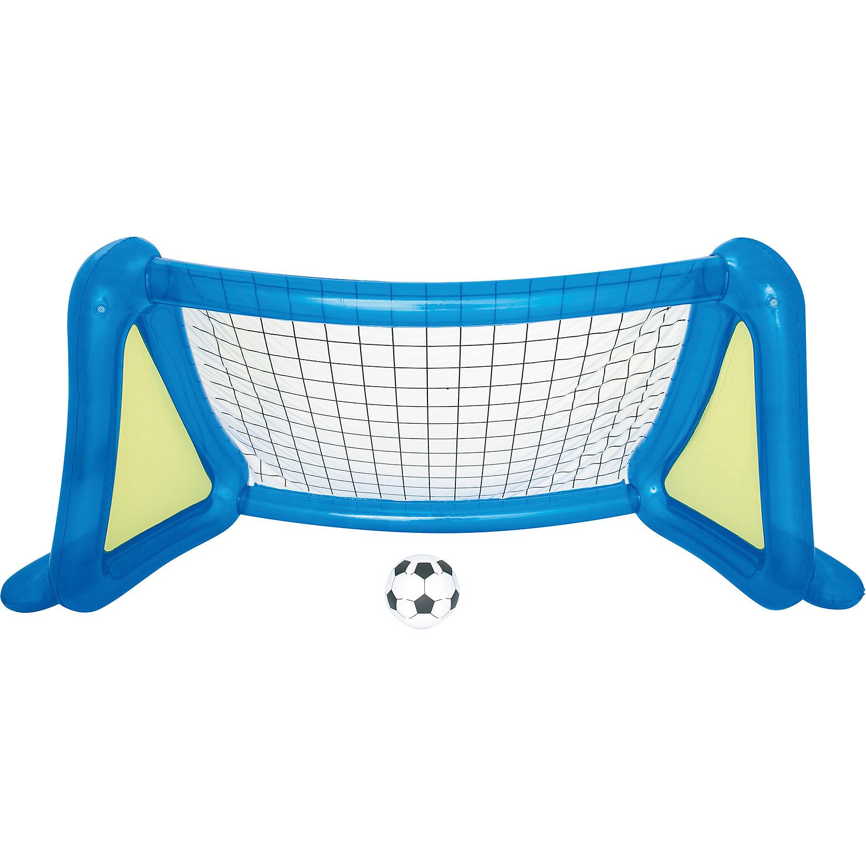 Футбольный набор: надувные ворота с брызгалкой + мяч, BestwayИгровые наборы<br>Футбольный набор: надувные ворота с брызгалкой + мяч, Bestway (Бествей)<br><br>Характеристики:<br><br>• устойчивая конструкция<br>• освежающие брызгалки<br>• размер: 254х112х130 см<br>• размер мяча: 36 см<br>• размер упаковки: 10,5х40х40 см<br>• вес: 3,6 кг<br><br>Футбольный набор Bestway - отличный вариант для активного отдыха в жаркий день. Конструкция ворот будет устойчиво располагаться на земле, если вы нальете в нее воды. По бокам расположены две брызгалки, которые помогут детям освежиться во время игры. В комплект входят два мяча и заплатка для ремонта.<br><br>Футбольный набор: надувные ворота с брызгалкой + мяч, Bestway (Бествей) можно купить в нашем интернет-магазине.<br><br>Ширина мм: 420<br>Глубина мм: 335<br>Высота мм: 415<br>Вес г: 3585<br>Возраст от месяцев: 48<br>Возраст до месяцев: 2147483647<br>Пол: Унисекс<br>Возраст: Детский<br>SKU: 5486906