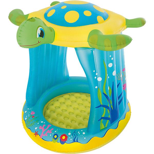 Надувной бассейн с навесом от солнца Черепашка, BestwayБассейны<br>Надувной бассейн с навесом от солнца Черепашка, Bestway (Бествей)<br><br>Характеристики:<br><br>• крыша для защиты от солнца<br>• яркий дизайн<br>• размер: 109х96х104 см<br>• материал: ПВХ<br>• размер упаковки: 8х30х29 см<br>• вес: 1931 грамм<br><br>В надувном бассейне Черепашка малыш сможет веселиться в теплый летний день. Бассейн изготовлен из прочного поливинилхлорида. Крыша бассейна выполнена в виде забавной черепашки. Она защитит ребенка от солнца во время игры. Такой очаровательный бассейн не оставит вас равнодушным!<br><br>Надувной бассейн с навесом от солнца Черепашка, Bestway (Бествей) можно купить в нашем интернет-магазине.<br><br>Ширина мм: 510<br>Глубина мм: 315<br>Высота мм: 320<br>Вес г: 1931<br>Возраст от месяцев: 24<br>Возраст до месяцев: 2147483647<br>Пол: Унисекс<br>Возраст: Детский<br>SKU: 5486909
