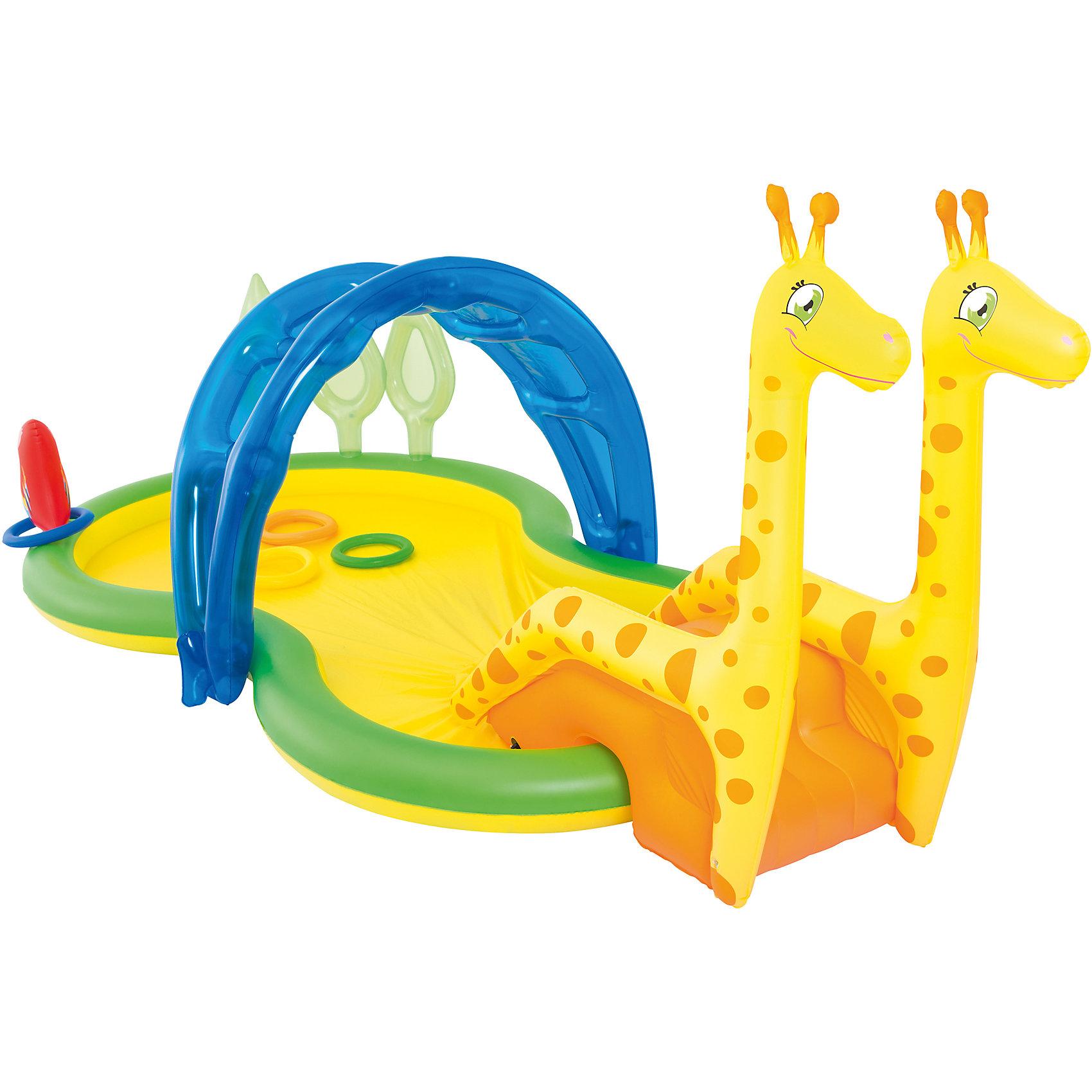 Бассейн с брызгалкой и принадлежностями для игр Зоопарк, BestwayБассейны<br>Бассейн с брызгалкой и принадлежностями для игр Зоопарк, Bestway (Бествей)<br><br>Характеристики:<br><br>• небольшая горка и игрушки<br>• клапан для слива воды<br>• освежающая брызгалка<br>• материал: ПВХ<br>• размер: 338х167х129 см<br>• объем: 201 л<br>• размер упаковки: 15х40х40 см<br>• вес: 5444 грамма<br><br>С большим надувным бассейном ребенок не заскучает в жаркий летний день! Бассейн оснащен клапаном для слива воды и распылителем, который поможет детям освежиться во время игр. Бассейн выполнен в виде жирафа. Небольшая горка, игрушки и аксессуары надолго привлекут внимание малышей. Бассейн можно подключить к садовому шлангу. <br><br>Бассейн с брызгалкой и принадлежностями для игр Зоопарк, Bestway (Бествей) можно купить в нашем интернет-магазине.<br><br>Ширина мм: 420<br>Глубина мм: 310<br>Высота мм: 415<br>Вес г: 5444<br>Возраст от месяцев: 24<br>Возраст до месяцев: 2147483647<br>Пол: Унисекс<br>Возраст: Детский<br>SKU: 5486911