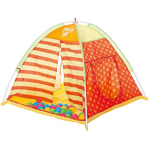 Детская палатка для игр с 40 шариками, BestwayИгровые центры<br>Детская палатка для игр с 40 шариками, Bestway (Бествей)<br><br>Характеристики:<br><br>• яркий дизайн<br>• 40 шариков в комплекте<br>• размер: 112х112х90 см<br>• материал: металл, полиэстер<br>• размер упаковки: 10х54х26 см<br>• вес: 1,26 кг<br><br>В детской палатке можно придумать самые разнообразные игры! Ребенок сможет укрыться от воображаемого дождя, пригласить друзей на чаепитие или придумать другие интересные игры. В комплект входят 40 разноцветных шариков, которые можно собрать в палатке или разложить по комнате. Палатка представляет собой устойчивую конструкцию с ярким дизайном. По бокам расположены разные входы. Ребенок сможет использовать их по своему усмотрению, как подскажет его фантазия.<br><br>Детскую палатку для игр с 40 шариками, Bestway (Бествей) можно купить в нашем интернет-магазине.<br>Ширина мм: 550; Глубина мм: 420; Высота мм: 280; Вес г: 1260; Возраст от месяцев: 72; Возраст до месяцев: 2147483647; Пол: Унисекс; Возраст: Детский; SKU: 5486952;