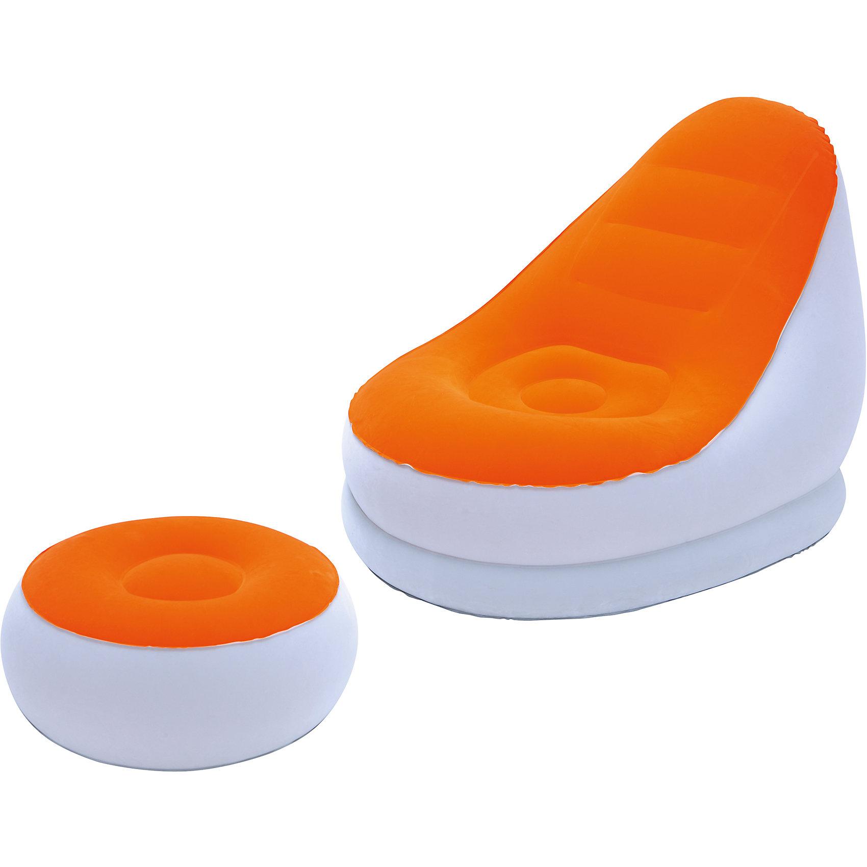 Кресло надувное с пуфиком, оранжевое, BestwayМебель<br>Кресло надувное с пуфиком, оранжевое, Bestway (Бествей)<br><br>Характеристики:<br><br>• мягкое сиденье<br>• удобный пуфик<br>• прочные материалы<br>• яркий дизайн<br>• цвет: оранжевый<br>• размер кресла: 122х94х81 см<br>• размер пуфика: 54х54х26 см<br>• размер упаковки: 10х35х33 см<br>• вес: 2,5 кг<br><br>Надувное кресло отлично дополнит мебель в вашем доме. Стильный дизайн кресла добавит яркости интерьеру комнаты. В комплект входит небольшой пуфик, который в сочетании с креслом позволит вам отдохнуть с комфортом. Изделия выполнены из прочного винила с флокированной поверхностью. Кресло мягкое и приятное на ощупь. В комплекте заплатка для ремонта.<br><br>Кресло надувное с пуфиком, оранжевое, Bestway (Бествей) вы можете купить в нашем интернет-магазине.<br><br>Ширина мм: 630<br>Глубина мм: 340<br>Высота мм: 365<br>Вес г: 2443<br>Возраст от месяцев: 72<br>Возраст до месяцев: 2147483647<br>Пол: Унисекс<br>Возраст: Детский<br>SKU: 5486962