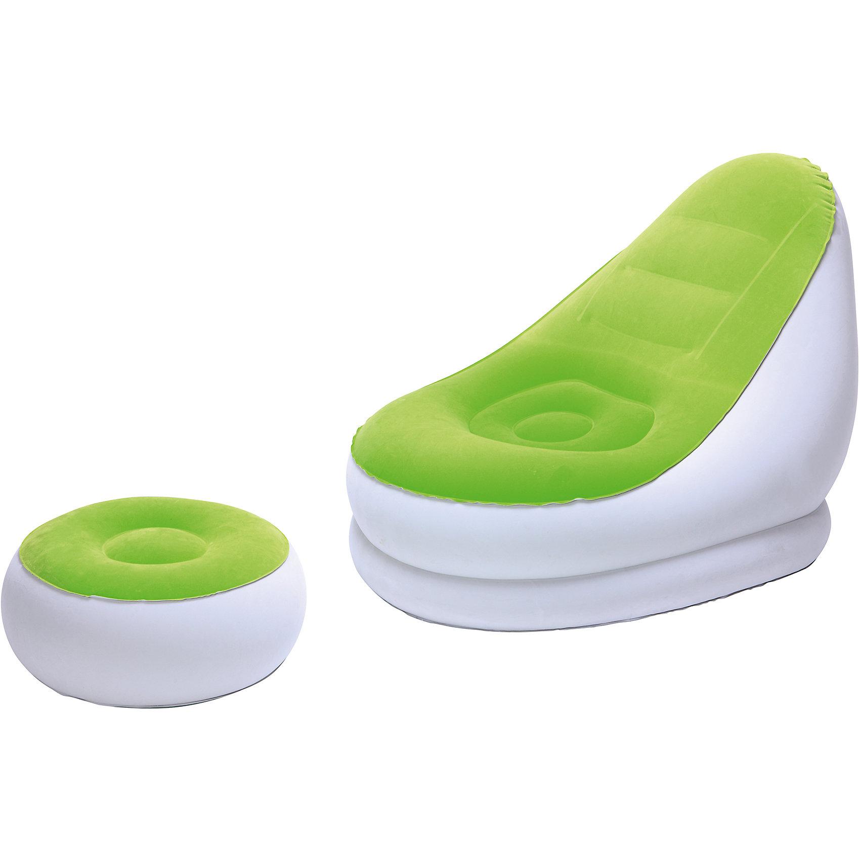 Кресло надувное с пуфиком, зеленое, BestwayМягкая игровая мебель<br>Кресло надувное с пуфиком, зеленое, Bestway (Бествей)<br><br>Характеристики:<br><br>• мягкое сиденье<br>• удобный пуфик<br>• прочные материалы<br>• яркий дизайн<br>• цвет: зеленый<br>• размер кресла: 122х94х81 см<br>• размер пуфика: 54х54х26 см<br>• размер упаковки: 10х35х33 см<br>• вес: 2,5 кг<br><br>Надувное кресло отлично дополнит мебель в вашем доме. Стильный дизайн кресла добавит яркости интерьеру комнаты. В комплект входит небольшой пуфик, который в сочетании с креслом позволит вам отдохнуть с комфортом. Изделия выполнены из прочного винила с флокированной поверхностью. Кресло мягкое и приятное на ощупь. В комплекте заплатка для ремонта.<br><br>Кресло надувное с пуфиком, зеленое, Bestway (Бествей) вы можете купить в нашем интернет-магазине.<br><br>Ширина мм: 630<br>Глубина мм: 340<br>Высота мм: 365<br>Вес г: 2443<br>Возраст от месяцев: 72<br>Возраст до месяцев: 2147483647<br>Пол: Унисекс<br>Возраст: Детский<br>SKU: 5486963