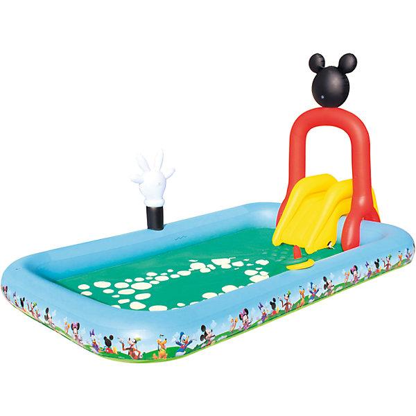 Игровой бассейн с брызгалкой и принадл. для игр, Микки Маус, 436 л, BestwayБассейны<br>Игровой бассейн с брызгалкой и принадл. для игр, Микки Маус, 436 л, Bestway (Бествей)<br><br>Характеристики:<br><br>• оснащен небольшой горкой и брызгалкой<br>• подходит для детей от 2-х лет<br>• яркий дизайн в стиле Микки-Мауса<br>• размер: 320х175х157 см<br>• материал: ПВХ<br>• размер упаковки: 40,5х14х39 см<br>• вес: 5774 грамма<br><br>Яркий игровой бассейн подарит ребенку много радостных эмоций в жаркий летний день. Размеров бассейна хватит для игры нескольких детей. Изделие оснащено небольшой горкой и брызгалкой, которая поможет освежиться во время игры. А я яркий дизайн с любимыми героями клуба Микки-Мауса никого не оставит равнодушным! Бассейн изготовлен из прочного ПВХ. В комплект входит заплатка для ремонта. Бассейн очень компактен в сложенном виде, поэтому вы с легкостью сможете взять его с собой в дорогу.<br><br>Игровой бассейн с брызгалкой и принадл. для игр, Микки Маус, 436 л, Bestway (Бествей) вы можете купить в нашем интернет-магазине.<br><br>Ширина мм: 420<br>Глубина мм: 290<br>Высота мм: 415<br>Вес г: 5774<br>Возраст от месяцев: 24<br>Возраст до месяцев: 2147483647<br>Пол: Унисекс<br>Возраст: Детский<br>SKU: 5486968