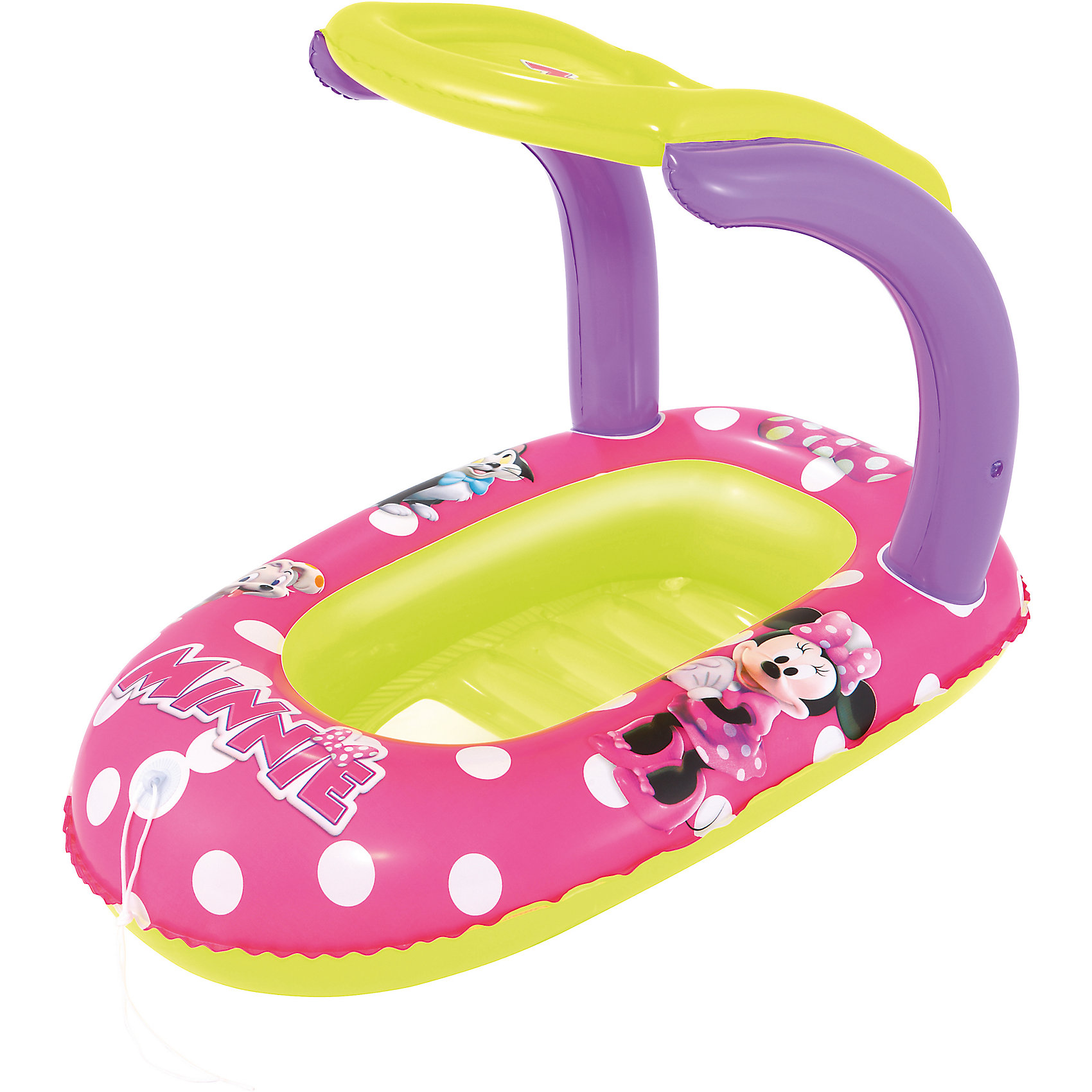 Надувная лодочка с тентом, Минни Маус, BestwayМатрасы и лодки<br>Надувная лодочка с тентом, Минни Маус, Bestway (Бествей)<br><br>Характеристики:<br><br>• тент для защиты от солнца<br>• небольшое окошко<br>• материал: ПВХ<br>• размер: 112х71 см<br>• размер упаковки: 6х19,5х20 см<br>• вес: 683 грамма<br><br>Надувная лодочка Bestway поможет вам разнообразить досуг ребенка во время летнего отдыха. Лодка оснащена небольшим отверстием на две и тентом для защиты от солнца. Изделие выполнено из прочного поливинилхлорида. Поверхность лодочки оформлена красочным изображением персонажей мультфильма о Микки-Маусе.<br><br>Надувную лодочку с тентом, Минни Маус, Bestway (Бествей) можно купить в нашем интернет-магазине.<br><br>Ширина мм: 420<br>Глубина мм: 390<br>Высота мм: 220<br>Вес г: 683<br>Возраст от месяцев: 36<br>Возраст до месяцев: 72<br>Пол: Женский<br>Возраст: Детский<br>SKU: 5486971
