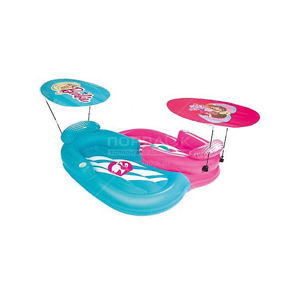 Надувной шезлонг 2-местный для отдыха на воде с навесами от солнца, Barbie, BestwayМатрасы и лодки<br>Надувной шезлонг 2-местный для отдыха на воде с навесами от солнца, Barbie, Bestway (Бествей)<br><br>Характеристики:<br><br>• тенты от солнца в комплекте<br>• привлекательный дизайн в стиле Барби<br>• материал: ПВХ<br>• размер: 178х170 см<br>• вес: 7,2 кг<br><br>Надувной шезлонг Bestway подарит детям много радостных эмоций в летний день. Шезлонг предназначен для катаниях двоих детей. В комплект входят навесы, защищающие от солнца. Шезлонг выполнен из прочного поливинилхлорида. Яркий дизайн в стиле полюбившихся Барби всегда будет радовать вас своей красотой!<br><br>Надувной шезлонг 2-местный для отдыха на воде с навесами от солнца, Barbie, Bestway (Бествей) можно купить в нашем интернет-магазине.<br>Ширина мм: 425; Глубина мм: 420; Высота мм: 415; Вес г: 7160; Возраст от месяцев: 48; Возраст до месяцев: 120; Пол: Женский; Возраст: Детский; SKU: 5486973;