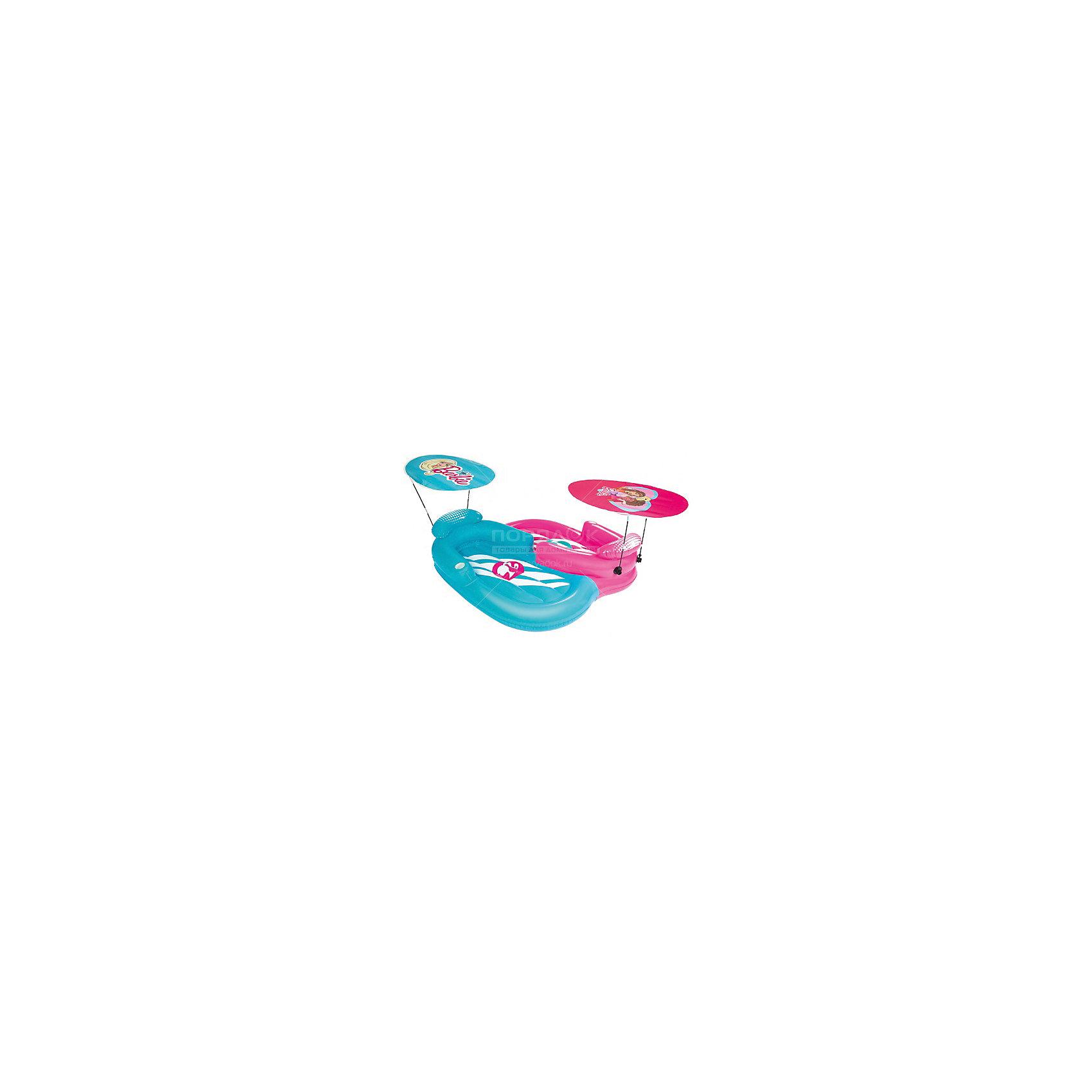 Надувной шезлонг 2-местный для отдыха на воде с навесами от солнца, Barbie, BestwayМатрасы и лодки<br>Надувной шезлонг 2-местный для отдыха на воде с навесами от солнца, Barbie, Bestway (Бествей)<br><br>Характеристики:<br><br>• тенты от солнца в комплекте<br>• привлекательный дизайн в стиле Барби<br>• материал: ПВХ<br>• размер: 178х170 см<br>• вес: 7,2 кг<br><br>Надувной шезлонг Bestway подарит детям много радостных эмоций в летний день. Шезлонг предназначен для катаниях двоих детей. В комплект входят навесы, защищающие от солнца. Шезлонг выполнен из прочного поливинилхлорида. Яркий дизайн в стиле полюбившихся Барби всегда будет радовать вас своей красотой!<br><br>Надувной шезлонг 2-местный для отдыха на воде с навесами от солнца, Barbie, Bestway (Бествей) можно купить в нашем интернет-магазине.<br><br>Ширина мм: 425<br>Глубина мм: 420<br>Высота мм: 415<br>Вес г: 7160<br>Возраст от месяцев: 48<br>Возраст до месяцев: 120<br>Пол: Женский<br>Возраст: Детский<br>SKU: 5486973