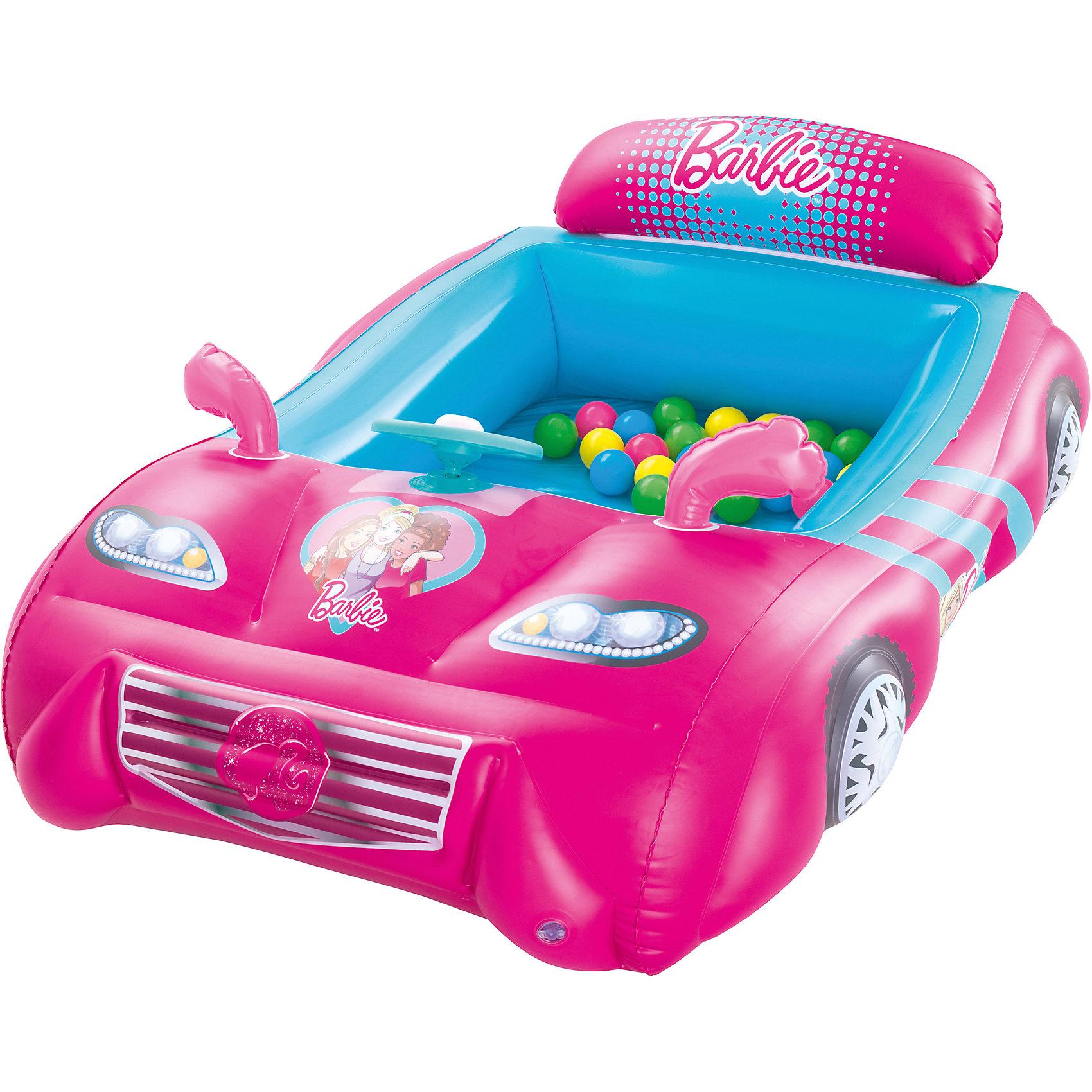 Игровой центр Машина с 25 шариками, Barbie, BestwayИгровые центры<br>Игровой центр Машина с 25 шариками, Barbie, Bestway (Бествей)<br><br>Характеристики:<br><br>• игровой центр в виде спортивной машины<br>• 25 разноцветных шариков в комплекте<br>• яркий дизайн в стиле Барби<br>• прочная конструкция<br>• есть предохранительные клапаны<br>• размер упаковки: 45х25х45 см<br>• вес: 2218 грамм<br><br>Яркий игровой центр позволит девочке почувствовать себя настоящей водительницей спортивной машины. Центр изготовлен из прочного поливинилхлорида. Конструкция устойчиво располагается на гладкой поверхности. Игровой центр выполнен в виде роскошного автомобиля с оформлением в стиле полюбившихся Барби. В комплект входят 25 разноцветных шариков, которым кроха обязательно найдет применение.<br><br>Игровой центр Машина с 25 шариками, Barbie, Bestway (Бествей) можно купить в нашем интернет-магазине.<br><br>Ширина мм: 455<br>Глубина мм: 415<br>Высота мм: 410<br>Вес г: 2218<br>Возраст от месяцев: 24<br>Возраст до месяцев: 2147483647<br>Пол: Женский<br>Возраст: Детский<br>SKU: 5486974