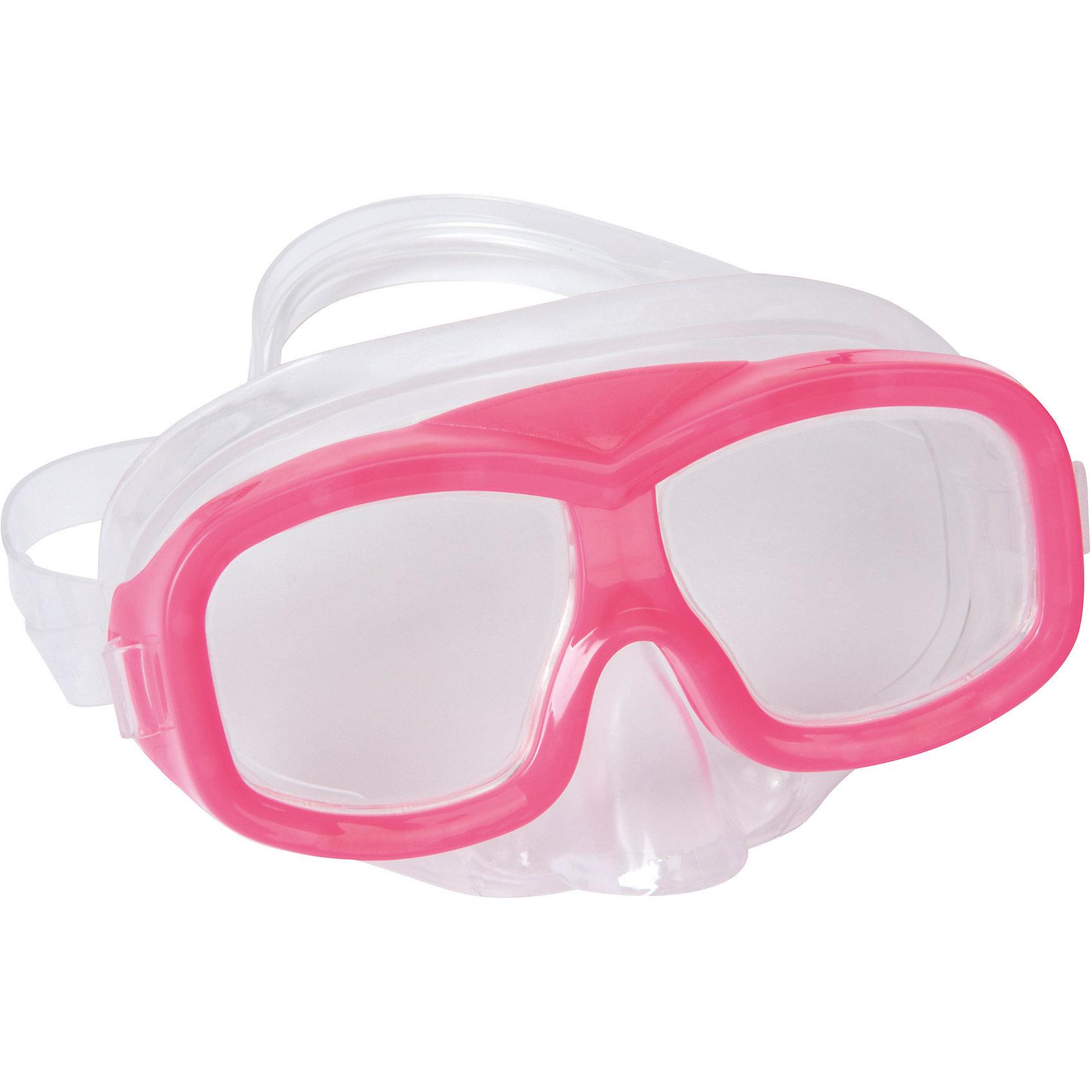Маска для ныряния Neuwave детская, розовая, BestwayОчки, маски, ласты, шапочки<br>Маска для ныряния Neuwave детская, розовая, Bestway (Бествей)<br><br>Характеристики:<br><br>• надежно защищает<br>• плотно прилегает к голове<br>• не вызывает аллергии<br>• материал: пластик<br>• цвет: розовый<br>• вес: 113 грамм<br><br>Маска Neuwave надежно защитит глаза ребенка во время изучения подводного мира. Маска подходит для ныряния, игр в воде и занятий в бассейне. Она плотно прилегает к голове благодаря регулирующемуся ремешку. Изготовлена из гипоаллергенных материалов.<br><br>Маску для ныряния Neuwave детская, розовая, Bestway (Бествей) можно купить в нашем интернет-магазине.<br><br>Ширина мм: 432<br>Глубина мм: 365<br>Высота мм: 245<br>Вес г: 113<br>Возраст от месяцев: 36<br>Возраст до месяцев: 72<br>Пол: Женский<br>Возраст: Детский<br>SKU: 5486986