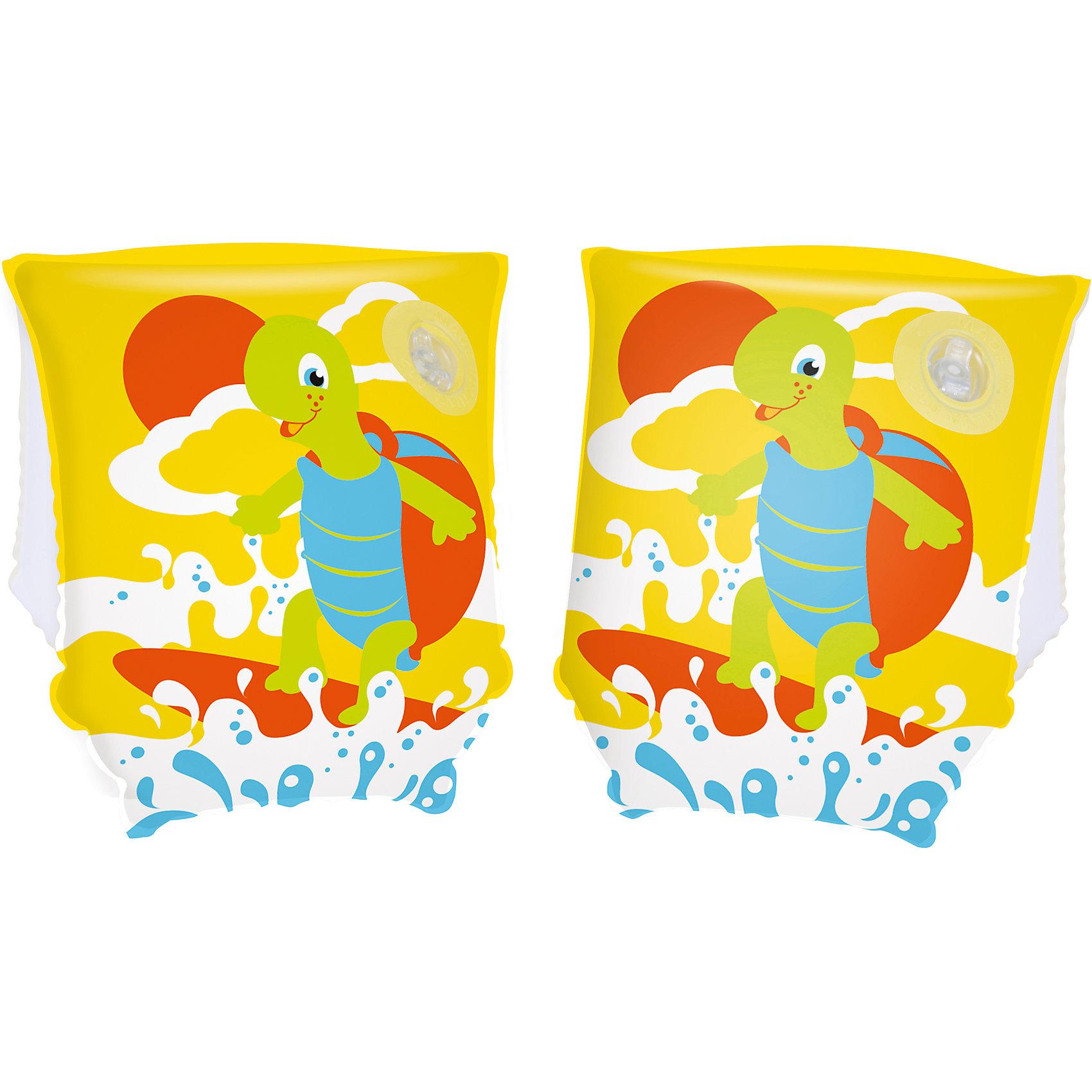 Нарукавники для плавания Черепашки, Bestway, желтыеКруги и нарукавники<br>Нарукавники для плавания Черепашки, Bestway (Бествей), желтые<br><br>Характеристики:<br><br>• яркий дизайн<br>• размер: 23х15<br>• материал: ПВХ<br>• вес: 86 грамм<br>• цвет: желтый<br><br>Нарукавника Bestway предназначены для плавания ребенка рядом с родителями. Они обеспечат безопасность малыша во время нахождения во воде. Нарукавники выполнены из прочного ПВХ и оформлены красочным изображением веселой черепашки. Две камеры помогут вам контролировать количество воздуха. Размер нарукавников - 23х15 сантиметров.<br><br>Нарукавники для плавания Черепашки, Bestway (Бествей), желтые вы можете купить в нашем интернет-магазине.<br><br>Ширина мм: 320<br>Глубина мм: 290<br>Высота мм: 180<br>Вес г: 86<br>Возраст от месяцев: 36<br>Возраст до месяцев: 72<br>Пол: Унисекс<br>Возраст: Детский<br>SKU: 5486997