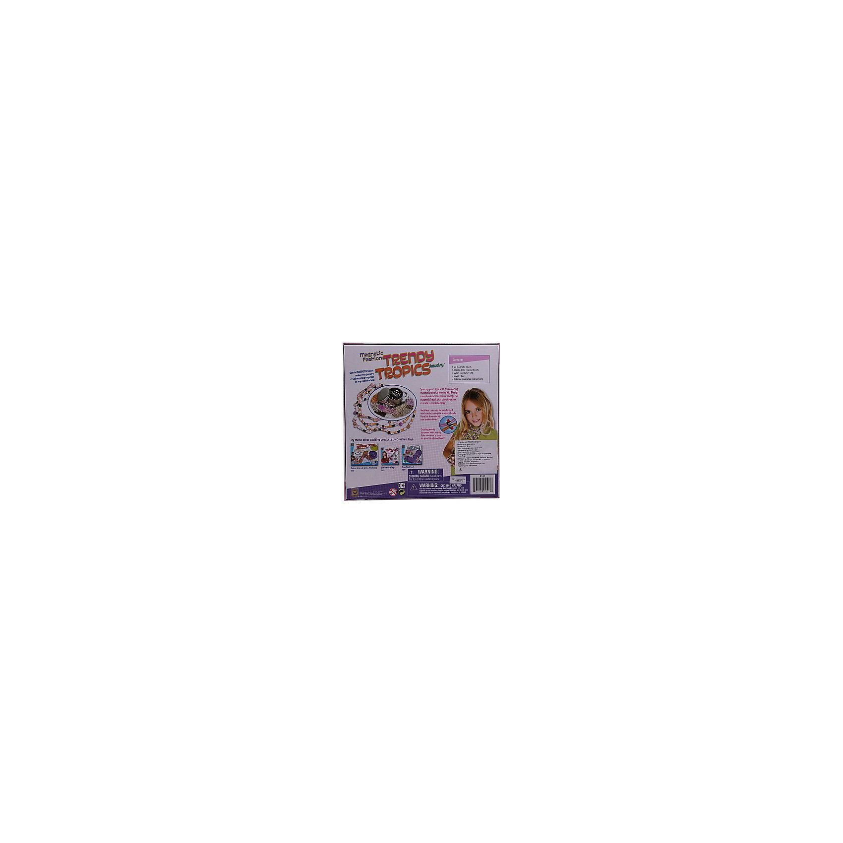 Набор Модные магниты Стильные тропикиНаборы для создания украшений<br>Набор Модные магниты Стильные тропики.<br><br>Характеристика: <br><br>• Возраст: от 8 лет<br>• Материал: пластик, картон, текстиль, краски.<br>• Размер: 6,5х26,5х26,5 см.<br>• Комплектация: 50 магнитных бусин;<br>800 натуральных бусин (ракушек и кораллов);<br>нейлоновая леска (5 метров);<br>шкатулка для хранения украшений; инструкция на русском языке.<br>• Развивает внимание, мелкую моторику, воображение, фантазию. <br>• Нетоксичные, безопасные для детей материалы.<br><br>Девочки обожают яркие блестящие украшения и безделушки! С помощью этого набора ваша маленькая рукодельница сможет сама сделать множество уникальных стильных украшений. В набор входят настоящие ракушки и кораллы. Магнитные бусины позволят быстро скреплять части украшений между собой, придумывая все новые и новые оригинальные дизайны. <br>Игра с набором не только увлекательное, но и полезное занятие: в процессе работы девочка сможет развить моторику рук, мышление, внимание и фантазию. Прекрасный вариант для подарка юной моднице! <br><br>Набор Модные магниты Стильные тропики можно купить в нашем интернет-магазине.<br><br>Ширина мм: 250<br>Глубина мм: 25<br>Высота мм: 60<br>Вес г: 575<br>Возраст от месяцев: 96<br>Возраст до месяцев: 2147483647<br>Пол: Женский<br>Возраст: Детский<br>SKU: 5487906