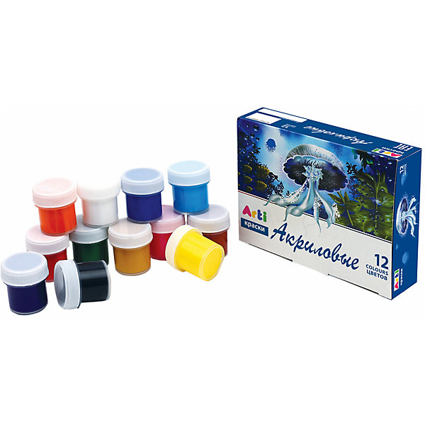 Набор для творчества,12 цветов, 120 мл.Наборы для раскрашивания<br>Набор для творчества,12 цветов, 120 мл.<br><br>Характеристика: <br><br>• Материал: краски. <br>• Размер упаковки: 3х12,5х9,5 см.<br>• 12 цветов: белый, красный, розовый, оранжевый, желтый, охра, зеленый, голубой, синий, фиолетовый, коричневый, черный. <br>• Объем 1 баночки с краской: 10 мл.<br>• Подходят для рисования по бумаге, стеклу, глине, дереву, металлу.<br>• Яркие насыщенные цвета.<br>• Не выгорают при воздействии солнечных лучей.<br>• Изготовлены из высококачественных нетоксичных материалов безопасных для детей. <br><br>Рисование прекрасный вид творческой деятельности, без которого невозможно гармоничное развитие ребенка. А чтобы процесс создания шедевра был легким и увлекательным, нужно подобрать правильные краски. Акриловые краски Arti (Арти) имеют насыщенный цвета, легко смешиваются между собой, быстро сохнут, хорошо смываются с рук. Краски изготовлены из высококачественных нетоксичных материалов безопасных для детей. <br><br>Набор для творчества,12 цветов, 120 мл., можно купить в нашем интернет-магазине.<br>Ширина мм: 30; Глубина мм: 125; Высота мм: 95; Вес г: 257; Возраст от месяцев: 36; Возраст до месяцев: 2147483647; Пол: Унисекс; Возраст: Детский; SKU: 5487929;