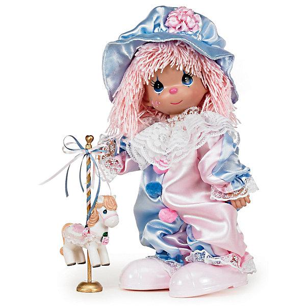 Кукла Клоун, 30 см, Precious MomentsКуклы<br>Характеристики:<br><br>• Материал: пластик, металл, текстиль<br>• Комплектация: кукла, пони на подставке<br>• Высота куклы ?30 см<br>• Комплект одежды съемный<br>• Вес в упаковке: 428 г<br>• Размеры упаковки (Г*Ш*В): 14*30*8 см<br><br>Все куклы выполнены из винила, волосы – из крученых ниток. Голова, руки и ноги – подвижные, благодаря чему игрушка может принимать любую позу. Кукла представлена в образе клоуна: у нее комбинезон, выполненный в нежных голубых и розовых тонах, кружевной воротник и большие мягкие помпоны на груди. Дополняет образ объемная кепка с розовым цветком. В наборе с куклой имеется пони на подставке. Все материалы, из которых изготовлена кукла и аксессуары, безопасные: не вызывают аллергии и не имеют запаха. <br><br>Куклу Клоун, 30 см, Precious Moments можно купить в нашем интернет-магазине.<br><br>Ширина мм: 140<br>Глубина мм: 300<br>Высота мм: 80<br>Вес г: 428<br>Возраст от месяцев: 36<br>Возраст до месяцев: 2147483647<br>Пол: Женский<br>Возраст: Детский<br>SKU: 5488535