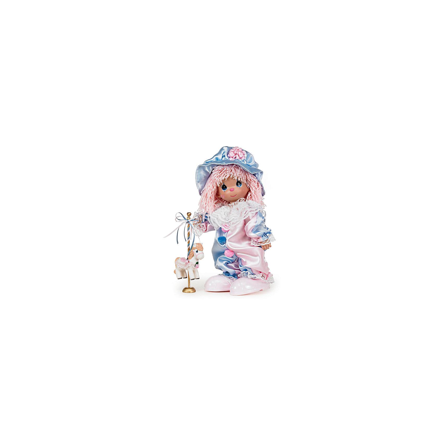Кукла Клоун, 30 см, Precious MomentsКлассические куклы<br>Характеристики:<br><br>• Материал: пластик, металл, текстиль<br>• Комплектация: кукла, пони на подставке<br>• Высота куклы ?30 см<br>• Комплект одежды съемный<br>• Вес в упаковке: 428 г<br>• Размеры упаковки (Г*Ш*В): 14*30*8 см<br><br>Все куклы выполнены из винила, волосы – из крученых ниток. Голова, руки и ноги – подвижные, благодаря чему игрушка может принимать любую позу. Кукла представлена в образе клоуна: у нее комбинезон, выполненный в нежных голубых и розовых тонах, кружевной воротник и большие мягкие помпоны на груди. Дополняет образ объемная кепка с розовым цветком. В наборе с куклой имеется пони на подставке. Все материалы, из которых изготовлена кукла и аксессуары, безопасные: не вызывают аллергии и не имеют запаха. <br><br>Куклу Клоун, 30 см, Precious Moments можно купить в нашем интернет-магазине.<br><br>Ширина мм: 140<br>Глубина мм: 300<br>Высота мм: 80<br>Вес г: 428<br>Возраст от месяцев: 36<br>Возраст до месяцев: 2147483647<br>Пол: Женский<br>Возраст: Детский<br>SKU: 5488535