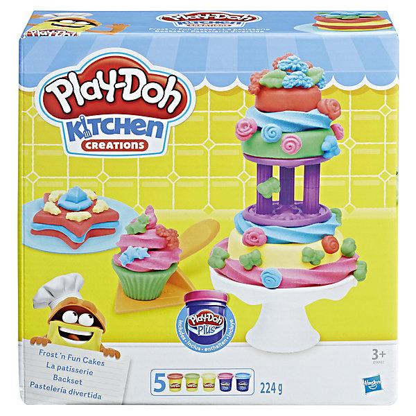 Набор для лепки Hasbro Play-Doh Kitchen Creations - Набор для выпечкиНаборы для лепки<br>Приготовь свои любимые блюда с набором НАБОР ДЛЯ ВЫПЕЧКИ. Включает в себя 3 торт штампа, подставка для торта, аксессуары,  3 стандартных баночки пластилина  и 2 банки плей-doh плюс<br>Ширина мм: 222; Глубина мм: 205; Высота мм: 71; Вес г: 570; Возраст от месяцев: 36; Возраст до месяцев: 72; Пол: Женский; Возраст: Детский; SKU: 5488553;