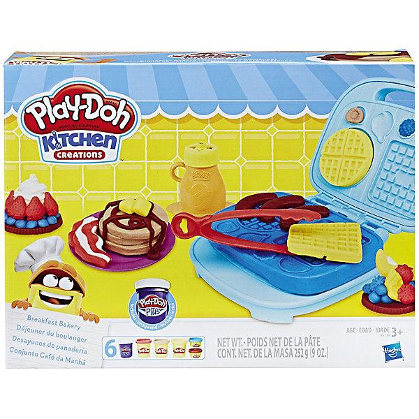 Набор для лепки Hasbro Play-Doh Kitchen Creations - Сладкий завтракНаборы для лепки<br>Приготовь свои любимые блюда с набором СЛАДКИЙ ЗАВТРАК. Включает в себя вафельницу, аксессуары, 3 стандартных баночки и 2 маленьких банок пластилина  и 1 банка пластилина ПЛЕЙ ДО плюс.<br>Ширина мм: 286; Глубина мм: 218; Высота мм: 71; Вес г: 785; Возраст от месяцев: 36; Возраст до месяцев: 72; Пол: Унисекс; Возраст: Детский; SKU: 5488554;