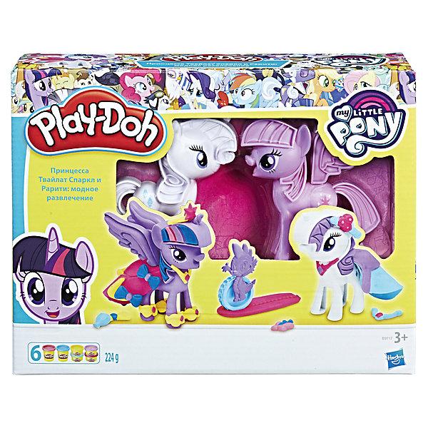 Набор для лепки Hasbro Play-Doh My little pony - Твайлайт и РаритиНаборы для лепки<br>Создай потрясающий пони образ для Рарити и  Твайлайт! Включает  фигурки Твайлайт и Рарити, Спайк- ролик,  пресс-формы, экструдеры, резаки- платья, аксессуары,  2  стандартных и 5 небольших банок пластилина<br>Ширина мм: 285; Глубина мм: 216; Высота мм: 80; Вес г: 625; Возраст от месяцев: 36; Возраст до месяцев: 72; Пол: Женский; Возраст: Детский; SKU: 5488557;
