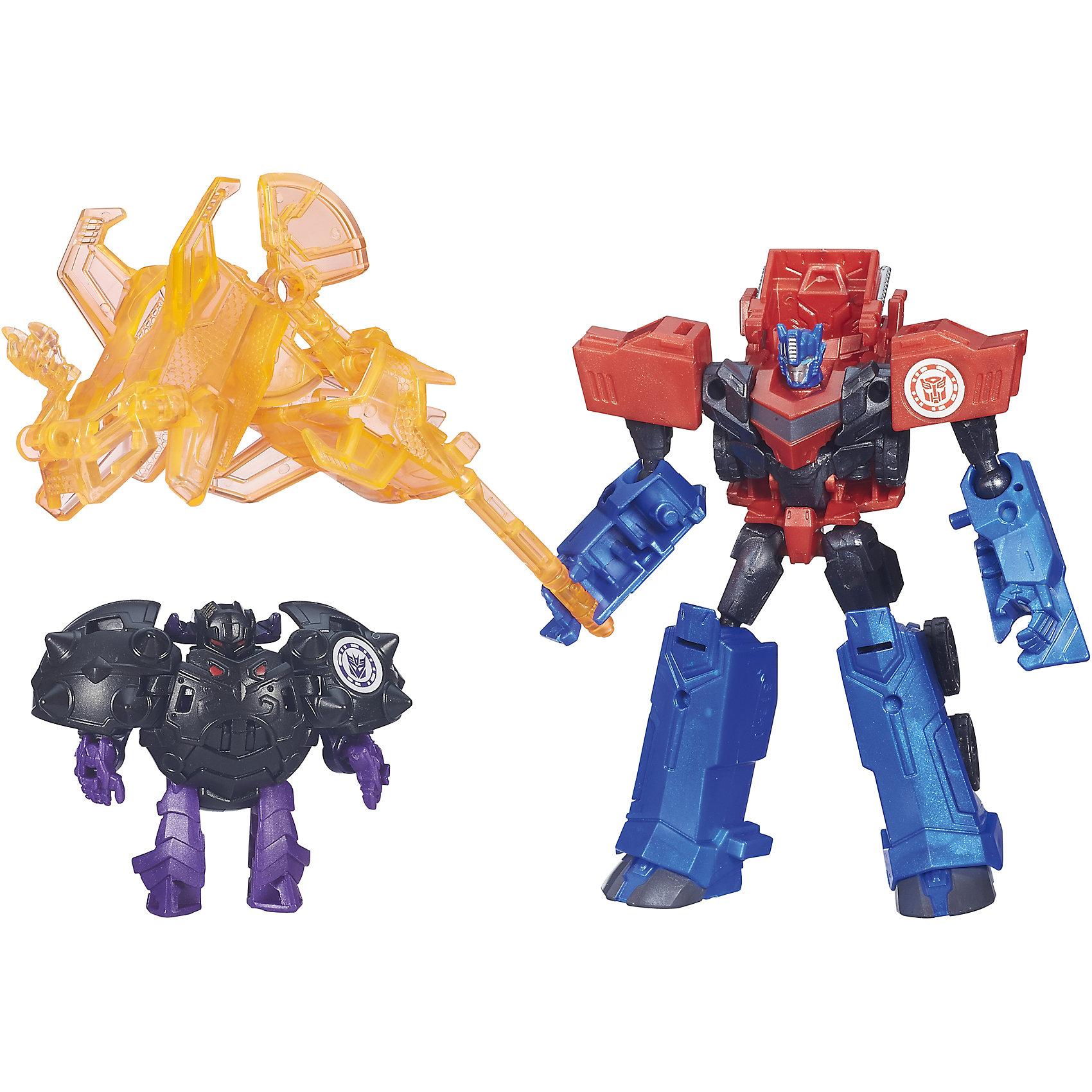 Миниконы Бэтл Пэкс, Роботс-ин-Дисгайс, Трансформеры, B4713/B4714Трансформеры<br>Характеристики:<br><br>• Материал: пластик<br>• Комплектация: 2 робота-трансформера, 8 аксессуаров<br>• Высота робота ?11 см, высота мини-кона ?5 см<br>• Трансформируется в грузовик за 5 шагов<br>• На игрушке имеется сканируемый жетон<br>• Вес в упаковке: 162 г<br>• Размеры упаковки (Г*Ш*В): 23,2*20,3*5,5 см<br>• Упаковка: блистер на картонной подложке<br><br>Наборы этой коллекции состоят из робота-трансформера, мини-кона и коллекции аксессуаров. Робот этой коллекции за 5 шагов трансформируется в грузовик. Фигурки героев выполнены из твердого пластика, устойчивого к повреждениям и трещинам, детали окрашены нетоксичной краской без запаха. Робот выполнен с высокой степенью достоверности и соответствия облику своего экранного прототипа.<br><br>Миникона Бэтл Пэкс, Роботс-ин-Дисгайс, Трансформеры, B4713/B4714 можно купить в нашем интернет-магазине.<br><br>Ширина мм: 232<br>Глубина мм: 203<br>Высота мм: 55<br>Вес г: 162<br>Возраст от месяцев: 48<br>Возраст до месяцев: 96<br>Пол: Мужской<br>Возраст: Детский<br>SKU: 5489044
