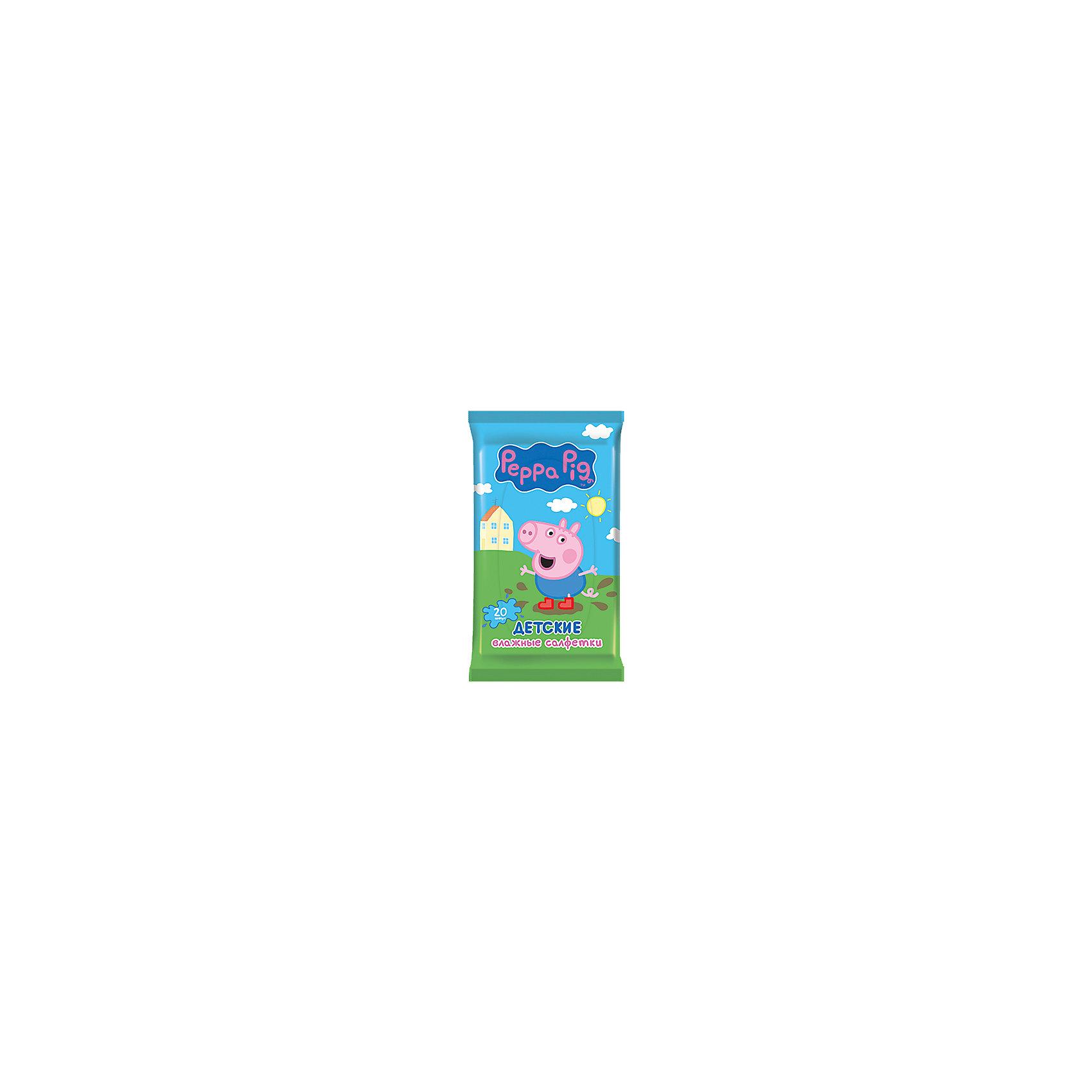 Детские влажные салфетки Peppa Pig 20 шт, АвангардХарактеристики:<br><br>• Коллекция: Свинка Пеппа<br>• Материал: нетканый материал, лосьон<br>• Количество в упаковке: 20 штук<br>• Не содержат спирта<br>• Яркая герметичная упаковка с клапаном<br>• В состав пропитки входит отдушка Bubble Gum<br>• Вес: 100 г<br>• Размеры (Д*Ш*В): 8*15*2 см<br><br>Материал является гипоаллергенным, не раздражает нежную детскую кожу, длительное время удерживает влагу, благодаря чему салфетки сохраняют свои свойства. При использовании не изменяют pH уровень кожи. Салфетки имеют компактную упаковку с клапаном, который обеспечивает герметичность и защищает от пересыхания. Уникальный состав пропитки, в состав которой входит отдушка Bubble Gum, позволяет легко и быстро очистить и освежить кожу.<br><br>Детские влажные салфетки Peppa Pig 20 шт, Авангард можно купить в нашем интернет-магазине.<br><br>Ширина мм: 80<br>Глубина мм: 150<br>Высота мм: 20<br>Вес г: 100<br>Возраст от месяцев: 0<br>Возраст до месяцев: 84<br>Пол: Унисекс<br>Возраст: Детский<br>SKU: 5489920