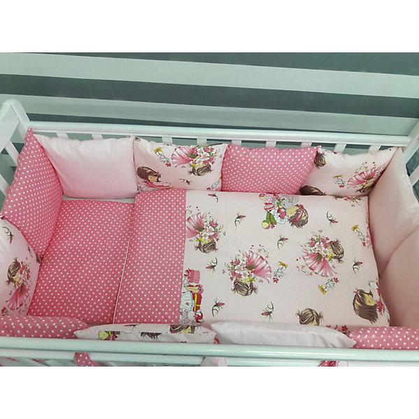 Постельное белье Шанталь 6 пред., by TwinzПостельное белье в кроватку новорождённого<br>Характеристики:<br><br>• Вид домашнего текстиля: постельное белье<br>• Тип постельного белья по размерам: детское<br>• Пол: для девочки<br>• Материал: сатин, 100% <br>• Наполнитель одеяла и подушки: холофайбер, 100% (лебяжий пух)<br>• Цвет: оттенки розового, белый, зеленый, бежевый<br>• Тематика рисунка: цветочный принт, девочки, горох<br>• Комплектация: <br> бортики-подушки 59*44 см – 6 шт.<br> наволочки на бортики 60*45 см – 6 шт.<br> пододеяльник 105*145 см – 1 шт. <br> одеяло 100*140 см – 1 шт. <br> простынь на резинке 125*65 см – 1 шт. <br> подушка 35*45 см – 1 шт. <br> наволочка 36*46 см – 1 шт. <br>• Сособ крепления бортиков ук кроватке: завязки<br>• Съемные наволочки у бортиков на молнии <br>• Вес в упаковке: 3 кг<br>• Размеры упаковки (Д*Ш*В): 58*18*58 см<br>• Особенности ухода: машинная стирка при температуре 30 градусов без использования отбеливающих веществ<br><br>Постельное белье Шанталь 6 пред., by Twinz, мятный изготовлено под отечественным торговым брендом, выпускающим текстиль и мебель из натуральных материалов для новорожденных и детей. Комплект состоит из шести предметов: одеяла, подушки, пододеяльника, простыни, наволочки и комплекта бортиков. <br><br>Размер изделий подходит для деткских кроваток классических моделей размером 100*60 см и 125*65 см. Комплект выполнен из сатина, который обладает мягкостью, гигроскопичностью, гипоаллергенностью, прочностью полотна и яркостью расцветок. Тщательно выполненные внутренние швы на изделиях обеспечивают постельному белью длительный срок службы и защиту от деформации даже при частых стирках. Для одеяла, подушки и бортиков использован экологически безопасный и не вызывающий аллергии искусственное волокно – холлофайбер. <br><br>Комплект бортиков состоит из 6-ти подушек с наволочками на молниях. Подушки фиксируются к кроватке с помощью завязок. Простынь за счет резинок хорошо фиксируется на матрасике, что препятствует ее сп