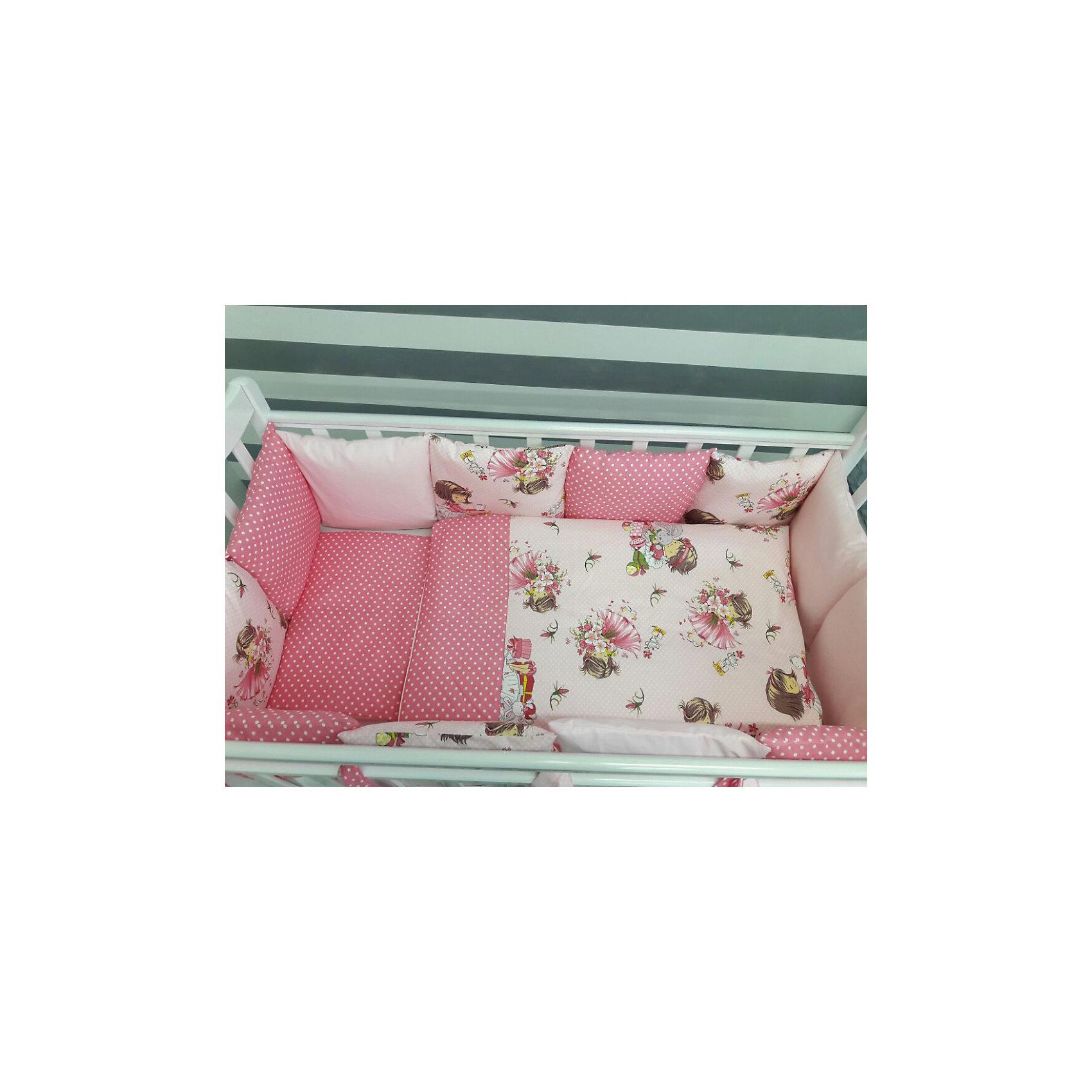 Постельное белье Шанталь 6 пред., by TwinzПостельное бельё<br>Характеристики:<br><br>• Вид домашнего текстиля: постельное белье<br>• Тип постельного белья по размерам: детское<br>• Пол: для девочки<br>• Материал: сатин, 100% <br>• Наполнитель одеяла и подушки: холофайбер, 100% (лебяжий пух)<br>• Цвет: оттенки розового, белый, зеленый, бежевый<br>• Тематика рисунка: цветочный принт, девочки, горох<br>• Комплектация: <br> бортики-подушки 59*44 см – 6 шт.<br> наволочки на бортики 60*45 см – 6 шт.<br> пододеяльник 105*145 см – 1 шт. <br> одеяло 100*140 см – 1 шт. <br> простынь на резинке 125*65 см – 1 шт. <br> подушка 35*45 см – 1 шт. <br> наволочка 36*46 см – 1 шт. <br>• Сособ крепления бортиков ук кроватке: завязки<br>• Съемные наволочки у бортиков на молнии <br>• Вес в упаковке: 3 кг<br>• Размеры упаковки (Д*Ш*В): 58*18*58 см<br>• Особенности ухода: машинная стирка при температуре 30 градусов без использования отбеливающих веществ<br><br>Постельное белье Шанталь 6 пред., by Twinz, мятный изготовлено под отечественным торговым брендом, выпускающим текстиль и мебель из натуральных материалов для новорожденных и детей. Комплект состоит из шести предметов: одеяла, подушки, пододеяльника, простыни, наволочки и комплекта бортиков. <br><br>Размер изделий подходит для деткских кроваток классических моделей размером 100*60 см и 125*65 см. Комплект выполнен из сатина, который обладает мягкостью, гигроскопичностью, гипоаллергенностью, прочностью полотна и яркостью расцветок. Тщательно выполненные внутренние швы на изделиях обеспечивают постельному белью длительный срок службы и защиту от деформации даже при частых стирках. Для одеяла, подушки и бортиков использован экологически безопасный и не вызывающий аллергии искусственное волокно – холлофайбер. <br><br>Комплект бортиков состоит из 6-ти подушек с наволочками на молниях. Подушки фиксируются к кроватке с помощью завязок. Простынь за счет резинок хорошо фиксируется на матрасике, что препятствует ее сползанию и сбиванию даже во