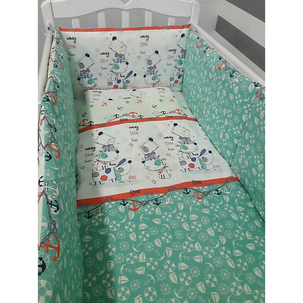 Постельное белье Веселый щенок 6 пред., by TwinzПостельное белье в кроватку новорождённого<br>Характеристики:<br><br>• Вид домашнего текстиля: постельное белье<br>• Тип постельного белья по размерам: детское<br>• Пол: для мальчика<br>• Материал: сатин, 100% <br>• Наполнитель одеяла и подушки: холофайбер, 100% (лебяжий пух)<br>• Цвет: зеленый, молочный, оранжевый, синий, серый<br>• Тематика рисунка: морская, щенок<br>• Комплектация: <br> бортики на завязках - размером 360х45 см<br> пододеяльник 105*145 см – 1 шт. <br> одеяло 100*140 см – 1 шт. <br> простынь на резинке 125*65 см – 1 шт. <br> подушка 35*45 см – 1 шт. <br> наволочка 36*46 см – 1 шт. <br>• Сособ крепления бортиков ук кроватке: завязки<br>• Съемные наволочки у бортиков <br>• Вес в упаковке: 3 кг<br>• Размеры упаковки (Д*Ш*В): 58*18*58 см<br>• Особенности ухода: машинная стирка при температуре 30 градусов без использования отбеливающих веществ<br><br>Постельное белье Веселый щенок 6 пред., by Twinz, мятный изготовлено под отечественным торговым брендом, выпускающим текстиль и мебель из натуральных материалов для новорожденных и детей. Комплект состоит из шести предметов: одеяла, подушки, пододеяльника, простыни, наволочки и комплекта бортиков. <br><br>Размер изделий подходит для деткских кроваток классических моделей размером 100*60 см и 125*65 см. Комплект выполнен из сатина, который обладает мягкостью, гигроскопичностью, гипоаллергенностью, прочностью полотна и яркостью расцветок. Тщательно выполненные внутренние швы на изделиях обеспечивают постельному белью длительный срок службы и защиту от деформации даже при частых стирках. Для одеяла, подушки и бортиков использован экологически безопасный и не вызывающий аллергии искусственное волокно – холлофайбер. <br><br>Комплект бортиков состоит из 6-ти подушек с наволочками на молниях. Подушки фиксируются к кроватке с помощью завязок. Простынь за счет резинок хорошо фиксируется на матрасике, что препятствует ее сползанию и сбиванию даже во время беспокойного с