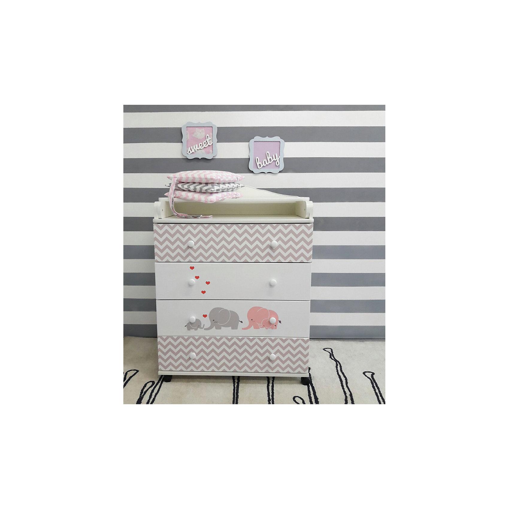 Пеленальный комод Мэри, by Twinz, серый/розовыйХарактеристики:<br><br>• Вид детской мебели: комод <br>• Возраст: от 0 месяцев<br>• Пол: для мальчика<br>• Тематика рисунка: слоники<br>• Цвет: розовый, серый, белый <br>• Материал: ЛДСП<br>• Размеры пеленального столика (Д*Ш): 70*72 см<br>• Четыре ящика<br>• Откидной пеленальный столик<br>• Закругленные кромки из ПВХ<br>• Четыре колесика на днище<br>• Декорирован фотопечатью <br>• Размеры (Д*Ш*В): 93,5*18*48,5 см<br>• Вес: 40 кг <br>• Особенности ухода: допускается сухая и влажная чистка<br><br>Пеленальный комод Мэри by Twinz, серый/розовый изготовлен отечественным торговым брендом, выпускающим текстиль и мебель из натуральных материалов для новорожденных и детей. <br><br>Технология производства детской мебели и материалы, используемые при ее изготовлении, отвечают международным и отечественным требованиям безопасности. Для изготовления корпуса комода был использована ЛДСП, для ящиков – МДФ. Материалы обработаны нетоксичными и гипоаллергенными красками и лаком. У комода предусмотрено 4 ящика с выдвижным роликовым механизмом, что обеспечивает плавное и тихое движение. На верхней полке предусмотрен откидной пеленальный столик. <br><br>В целях безопасности и удобства пользования им по бокам предусмотрены бортики. У комода закругленные мягкие кромки и колесики на днище. Декорирован брендовой фотопечатью с изображением серо-розовых слонов, что придает мебели особую изысканность и оригинальность. <br><br>Пеленальный комод Мэри by Twinz, серый/розовый можно купить в нашем интернет-магазине.<br><br>Ширина мм: 935<br>Глубина мм: 485<br>Высота мм: 180<br>Вес г: 40000<br>Возраст от месяцев: 0<br>Возраст до месяцев: 36<br>Пол: Женский<br>Возраст: Детский<br>SKU: 5491526