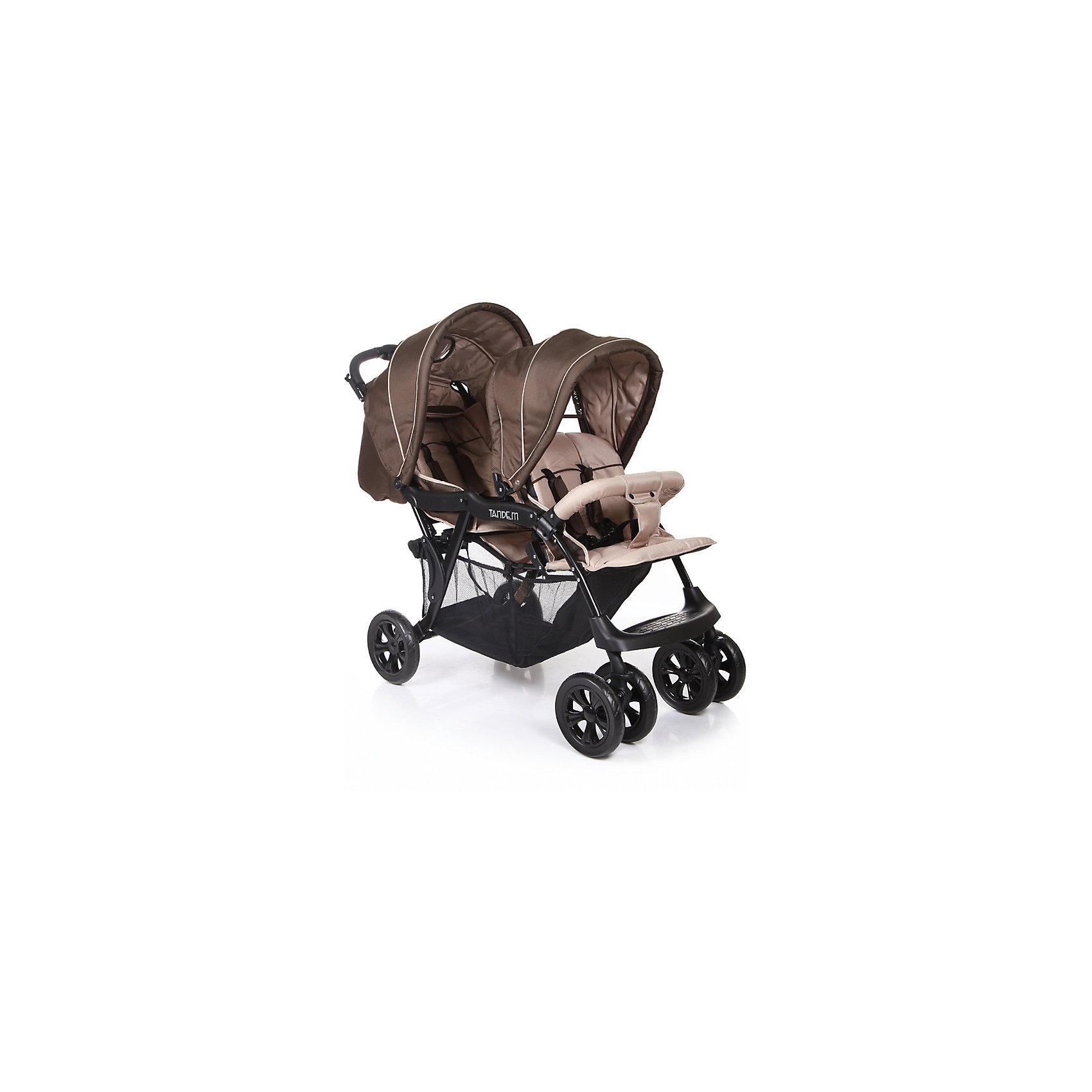 Прогулочная коляска для двойни Baby Care Tandem, коричневый/бежевыйПрогулочные коляски<br>Характеристики прогулочной коляски для двойни Baby Care Tandem:<br><br>• расположение прогулочных блоков «паровозиком»;<br>• регулировка наклона спинки заднего блока при помощи ремешков;<br>• регулировка наклона спинки переднего блока в 2 положениях;<br>• на переднем блоке съемный бампер с перемычкой между ножек;<br>• 5-ти точечные ремни безопасности с мягкими накладками;<br>• независимая регулировка капюшонов;<br>• карман для мелочей и смотровое окошко на капюшоне заднего блока;<br>• регулируемая пластиковая подножка;<br>• материал: полиэстер.<br><br>Прогулочная коляска для двойни Baby Care Tandem — практичная и удобная коляска для двойняшек или погодок в возрасте от 6 месяцев. Просторные сидения, мягкие ткани, регулируемые спинки обеспечивают малышам комфортную прогулку. Большие капюшоны защищают от непогоды и солнечных лучей. В комплекте накидка на ножки для каждого блока для защиты от ветра в прохладную погоду.<br><br>Шасси коляски:<br><br>• металлическая прочная рама;<br>• тип складывания: «книжка»;<br>• передние поворотные колеса сдвоенные, с возможностью блокировки;<br>• задние колеса одинарные;<br>• тип колес: пластиковые;<br>• диаметр передних колес 20,3 см, задних — 25,4 см;<br>• ширина колесной базы 57 см;<br>• вместительная корзина для покупок, размером 70х31х25 см;<br>• задний стояночный тормоз.<br><br>Размер коляски в разложенном виде 120х57х112 см<br>Размер коляски в сложенном виде 99х57х37 см<br>Вес коляски 13,5 кг<br>Размер упаковки 94х47х32 см<br>Вес в упаковке 15,5 кг<br><br>Комплектация:<br><br>• 2 прогулочных блока;<br>• корзина для покупок;<br>• 2 накидки на ножки;<br>• инструкция.<br><br>Прогулочную коляску для двойни Baby Care Tandem коричневую можно приобрести в нашем интернет-магазине.<br><br>Ширина мм: 940<br>Глубина мм: 470<br>Высота мм: 320<br>Вес г: 15500<br>Возраст от месяцев: 6<br>Возраст до месяцев: 36<br>Пол: Унисекс<br>Возраст: Детский<br>SKU: