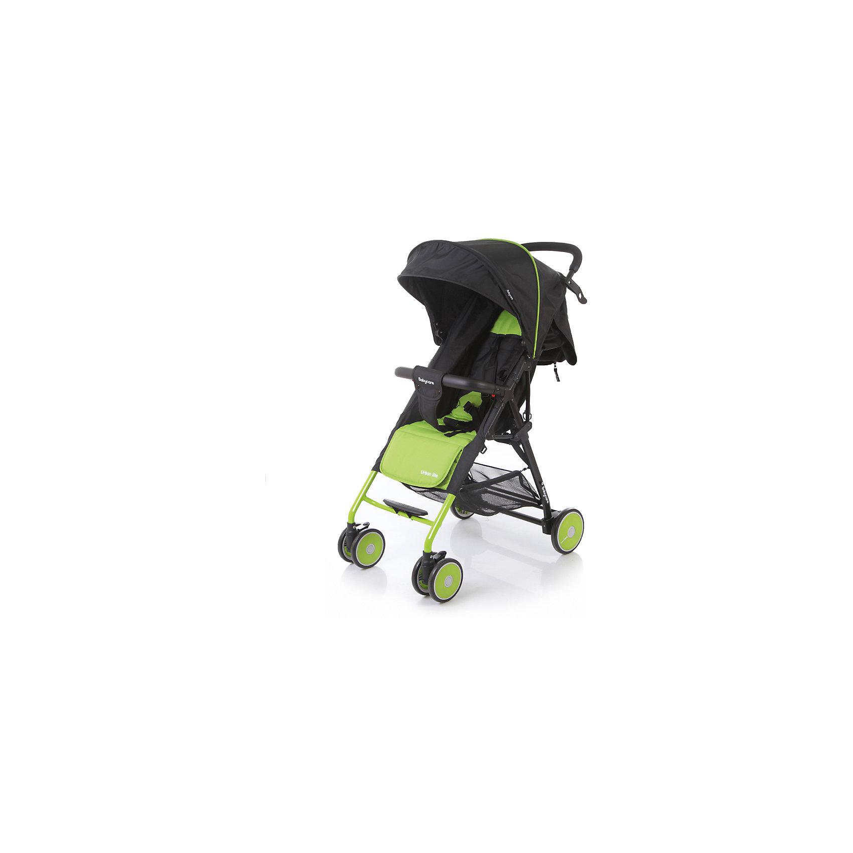 Прогулочная коляска Baby Care Urban Lite, зеленыйот +6 месяцев<br>Характеристики коляски Baby Care Urban Lite:<br><br>• плавно регулируемый наклон спинки при помощи ременного механизма;<br>• складной капюшон с солнцезащитным козырьком;<br>• смотровое окошко для наблюдения за ребенком;<br>• задняя часть капюшона открывается для вентиляции воздуха;<br>• съемный бампер с дополнительным разделителем между ножек;<br>• регулируемая при помощи ремня подножка;<br>• ручка родителей с мягкой нескользящей накладкой;<br>• 5-ти точечные ремни безопасности с мягкими накладками;<br>• ширина сидения 33,5 см;<br>• материал: полиэстер.<br><br>Прогулочная коляска Baby Care Urban Lite — легкая маневренная коляска для прогулок по городу, поездок на природу и путешествия. Просторное сидение, откидывающая спинка и регулируемая подножка обеспечивают малышу максимально комфортную прогулку. Коляска компактно складывается, не занимает много места, ее можно перевозить в багажнике автомобиля. <br><br>Шасси коляски:<br><br>• легкая алюминиевая рама;<br>• передние поворотные колеса сдвоенные, с возможностью фиксации;<br>• задние колеса одинарные;<br>• диаметр передних колес 13 см, задних — 15,3 см;<br>• ширина колесной базы 51 см;<br>• амортизаторы на передних колесах для смягчения хода;<br>• ножной тормоз;<br>• тип складывания «книжка»;<br>• устойчива в сложенном виде;<br>• корзина для покупок размером 40х34х14 см.<br><br>Размер коляски в разложенном виде 87х51х103 см<br>Размер коляски в сложенном виде 67х51х25 см<br>Вес коляски 5,4 кг<br>Размер упаковки 66х46х18 см<br>Вес в упаковке 6,2 кг<br><br>Комплектация:<br><br>• прогулочный блок<br>• корзина для покупок;<br>• чехол на ножки;<br>• инструкция.<br><br>Прогулочную коляску Baby Care Urban Lite зеленую можно приобрести в нашем интернет-магазине.<br><br>Ширина мм: 660<br>Глубина мм: 460<br>Высота мм: 180<br>Вес г: 6200<br>Возраст от месяцев: 6<br>Возраст до месяцев: 36<br>Пол: Унисекс<br>Возраст: Детский<br>SKU: 5493336