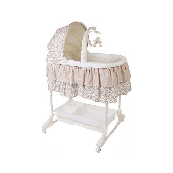 Кроватка-люлька 3 в 1 Sweet Dream, Jetem, кофейныйКолыбели-люльки для новорожденных<br>Характеристики товара:<br><br>• возраст с рождения до 5 месяцев;<br>• материал: пластик, текстиль;<br>• регулировка по высоте в 5 положениях;<br>• откидной бортик для доступа к малышу;<br>• вращающаяся дуга с игрушками;<br>• съемный капюшон;<br>• колесики для перемещения по квартире;<br>• вместительная корзина для игрушек и вещей;<br>• размер кроватки 80x43x24 см;<br>• вес кроватки 9 кг;<br>• размер упаковки 89х49х16 см;<br>• вес в упаковке 9,8 кг.<br><br>Кроватка-люлька 3 в 1 Jetem Sweet Dream станет для новорожденного уютным местом для сна и отдыха. Откидной бортик облегчает доступ к малышу во время кормления. Люльку можно поставить рядом с кроватью мамы и зафиксировать при помощи ремней. Колеса облегчают перемещение по квартире. Дуга с игрушками развлечет малыша, он сможет наблюдать за игрушками или трогать их, развивая мелкую моторику рук и тактильные ощущения. Убаюкать кроху поможет электронный блок с вибрацией и колыбельными мелодиями. Под люлькой расположена корзинка для игрушек или необходимых для мамы вещей по уходу за малышом. Кроватка легко трансформируется в качалку или пеленальный столик.<br><br>Комплектация: <br><br>• кроватка;<br>• капюшон;<br>• съемный пульт управления;<br>• дуга с игрушками;<br>• виброблок;<br>• музыкальный блок;<br>• ночник.<br><br>Кроватку-люльку 3 в 1 Jetem Sweet Dream кофейную можно приобрести в нашем интернет-магазине.<br>Ширина мм: 890; Глубина мм: 490; Высота мм: 160; Вес г: 9800; Возраст от месяцев: 0; Возраст до месяцев: 3; Пол: Унисекс; Возраст: Детский; SKU: 5493349;