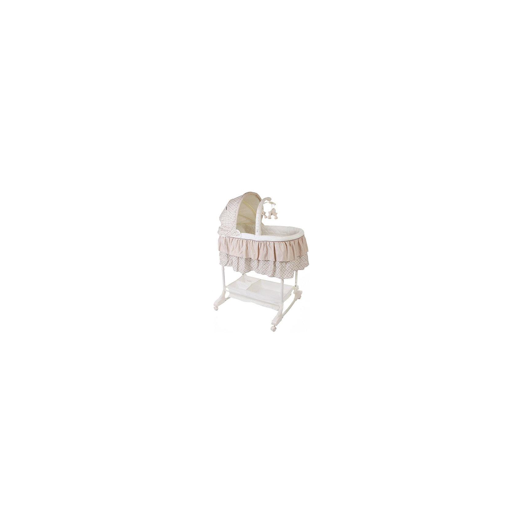 Кроватка-люлька 3 в 1 Sweet Dream, Jetem, кофейныйJetem Sweet Dream - функциональная кроватка-люлька, специально продуманная для установки рядом с кроватью мамы. <br>Откидывающийся бортик облегчает доступ к малышу во время кормления. Кроме того люльку можно зафиксировать у кровати с помощью специального ремня.<br> Высота люльки от пола регулируется в 5 положениях.  Кроватка оснащена колесами, благодаря чему ее удобно перемещать по квартире даже со спящим малышом. <br> Если это не требуется, колеса можно убрать.  Под люлькой есть корзинка для всех необходимых принадлежностей. Одна из главных особенностей кроватки - широкий спектр комплектующих.  Есть съемный пульт управления-модуль с игрушками на карусели, виброблок, ночник, музыкальный блок.  Кроме того на люльку можно закрепить съемный капор.     Описание:- Съемная электронная карусель с подвесными игрушками и мерцающими огоньками;- электронный блок с вибрационной системой и колыбельными мелодиями;- ночник;- удобный матрасик с простынкой;- пять уровней высоты;- большая корзина для хранения вещей или игрушек;- трансформируется в качалку;- легко снимающиеся для чистки части из ткани;- откидной борт;- может трансформироваться в удобный пеленальный столик.<br>    Характеристики:- Вес: 8 кг.- Размер колыбели: 80x43x24 см.- Высота от пола до 1 уровня: 60 см , до 5 уровня: 80 см.<br><br>Ширина мм: 890<br>Глубина мм: 490<br>Высота мм: 160<br>Вес г: 9800<br>Возраст от месяцев: 0<br>Возраст до месяцев: 3<br>Пол: Унисекс<br>Возраст: Детский<br>SKU: 5493349