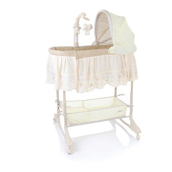 Кроватка-люлька 3 в 1 Sweet Dream, Jetem, кремовыйКолыбели-люльки для новорожденных<br>Характеристики товара:<br><br>• возраст с рождения до 5 месяцев;<br>• материал: пластик, текстиль;<br>• регулировка по высоте в 5 положениях;<br>• откидной бортик для доступа к малышу;<br>• вращающаяся дуга с игрушками;<br>• съемный капюшон;<br>• колесики для перемещения по квартире;<br>• вместительная корзина для игрушек и вещей;<br>• размер кроватки 80x43x24 см;<br>• вес кроватки 9 кг;<br>• размер упаковки 89х49х16 см;<br>• вес в упаковке 9,8 кг.<br><br>Кроватка-люлька 3 в 1 Jetem Sweet Dream станет для новорожденного уютным местом для сна и отдыха. Откидной бортик облегчает доступ к малышу во время кормления. Люльку можно поставить рядом с кроватью мамы и зафиксировать при помощи ремней. Колеса облегчают перемещение по квартире. Дуга с игрушками развлечет малыша, он сможет наблюдать за игрушками или трогать их, развивая мелкую моторику рук и тактильные ощущения. Убаюкать кроху поможет электронный блок с вибрацией и колыбельными мелодиями. Под люлькой расположена корзинка для игрушек или необходимых для мамы вещей по уходу за малышом. Кроватка легко трансформируется в качалку или пеленальный столик.<br><br>Комплектация: <br><br>• кроватка;<br>• капюшон;<br>• съемный пульт управления;<br>• дуга с игрушками;<br>• виброблок;<br>• музыкальный блок;<br>• ночник.<br><br>Кроватку-люльку 3 в 1 Jetem Sweet Dream кремовую можно приобрести в нашем интернет-магазине.<br><br>Ширина мм: 890<br>Глубина мм: 490<br>Высота мм: 160<br>Вес г: 9800<br>Возраст от месяцев: 0<br>Возраст до месяцев: 3<br>Пол: Унисекс<br>Возраст: Детский<br>SKU: 5493350