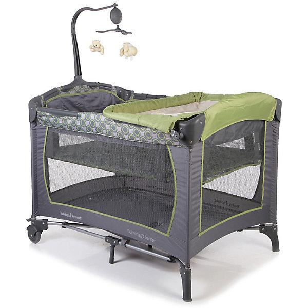 Манеж-кровать Trend, Baby Trend, серый/зеленыйДетские кроватки<br>Характеристики товара:<br><br>• возраст с рождения до 3 лет;<br>• материал: пластик, текстиль;<br>• 2 уровня высоты манежа<br>• 2 колеса с фиксаторами<br>• боковины из сетчатого материала<br>• углы манежа с накладками<br>• размер манежа 103х68х75 см;<br>• вес манежа 11,4 кг;<br>• размер упаковки 78х26х26 см;<br>• вес упаковки 12,5 кг.<br><br>Манеж-кровать Baby Trend Trend с 2 уровнями — практичный манеж для детей с рождения. Для новорожденного используется как удобная кроватка, для детей постарше — как манеж для игр или отдыха. На бортики крепится пеленальный столик, что облегчает маме уход за малышом. После смены подгузников малыша можно сразу уложить отдыхать, а пеленальный столик убрать. Дуга с игрушками привлечет внимание ребенка, он будет рассматривать их или хватать и играть с ними. Боковины из сетчатого материала обеспечивают воздухообмен. Конструкция манежа отличается хорошей устойчивостью благодаря 4 ножками и дополнительным точкам опоры по центру. 2 колеса с блокираторами облегчают перемещение по квартире. Углы манежа закрыты накладками, чтобы исключить повреждения. Манеж легко и компактно складывается и хранится в удобной сумке с ручками.<br><br>Комплектация:<br><br>• манеж;<br>• пеленальный столик;<br>• карман для подгузников или вещей;<br>• сумка для переноски;<br>• карусель с игрушками.<br><br>Манеж-кровать Baby Trend Trend можно приобрести в нашем интернет-магазине.<br><br>Ширина мм: 780<br>Глубина мм: 260<br>Высота мм: 260<br>Вес г: 12500<br>Возраст от месяцев: 0<br>Возраст до месяцев: 36<br>Пол: Унисекс<br>Возраст: Детский<br>SKU: 5493353