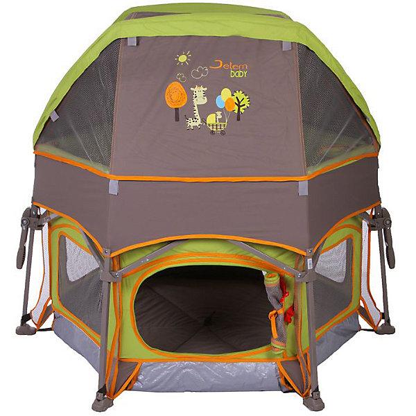 Манеж Sport, Jetem, зелёныйИгровые манежи<br>Характеристики товара:<br><br>• возраст от 6 месяцев;<br>• материал: металлический каркас, стенки из текстиля<br>• максимальный вес ребёнка: 13 кг<br>• тип складывания: зонт с запирающим механизмом<br>• боковой лаз<br>• непромокаемое покрытие дня<br>• боковые карманы<br>• солнцезащитная крыша<br>• в комплекте: москитная сетка, сумка для переноски<br>• дверца манежа закрывается на молнию<br>• 8 опор с замками для фиксации<br>• размер манежа без крыши 114х114х70 см;<br>• вес манежа 6 кг;<br>• размер упаковки 74х30х30 см;<br>• вес упаковки 8 кг.<br><br>Манеж Jetem Sport — необычный игровой манеж, который превращается в домик с крышей. Крыша крепится на манеж при помощи специальных креплений. Манеж станет для ребенка уютным местом для игр и отдыха. Его можно использовать как дома, так и на природе. Крыша защищает от солнечных лучей, а москитная сетка спасет от навязчивых насекомых. Дверца манежа закрывается на молнию. Сетчатые окошки обеспечивают вентиляцию воздуха. Конструкция отличается хорошей устойчивостью благодаря наличию 8 опор с замками для фиксации. Манеж изготовлен из непромокаемого материала. Манеж легко и компактно складывается.  <br><br>Манеж Jetem Sport зеленый можно приобрести в нашем интернет-магазине.<br><br>Ширина мм: 740<br>Глубина мм: 300<br>Высота мм: 300<br>Вес г: 8000<br>Возраст от месяцев: 0<br>Возраст до месяцев: 36<br>Пол: Унисекс<br>Возраст: Детский<br>SKU: 5493357