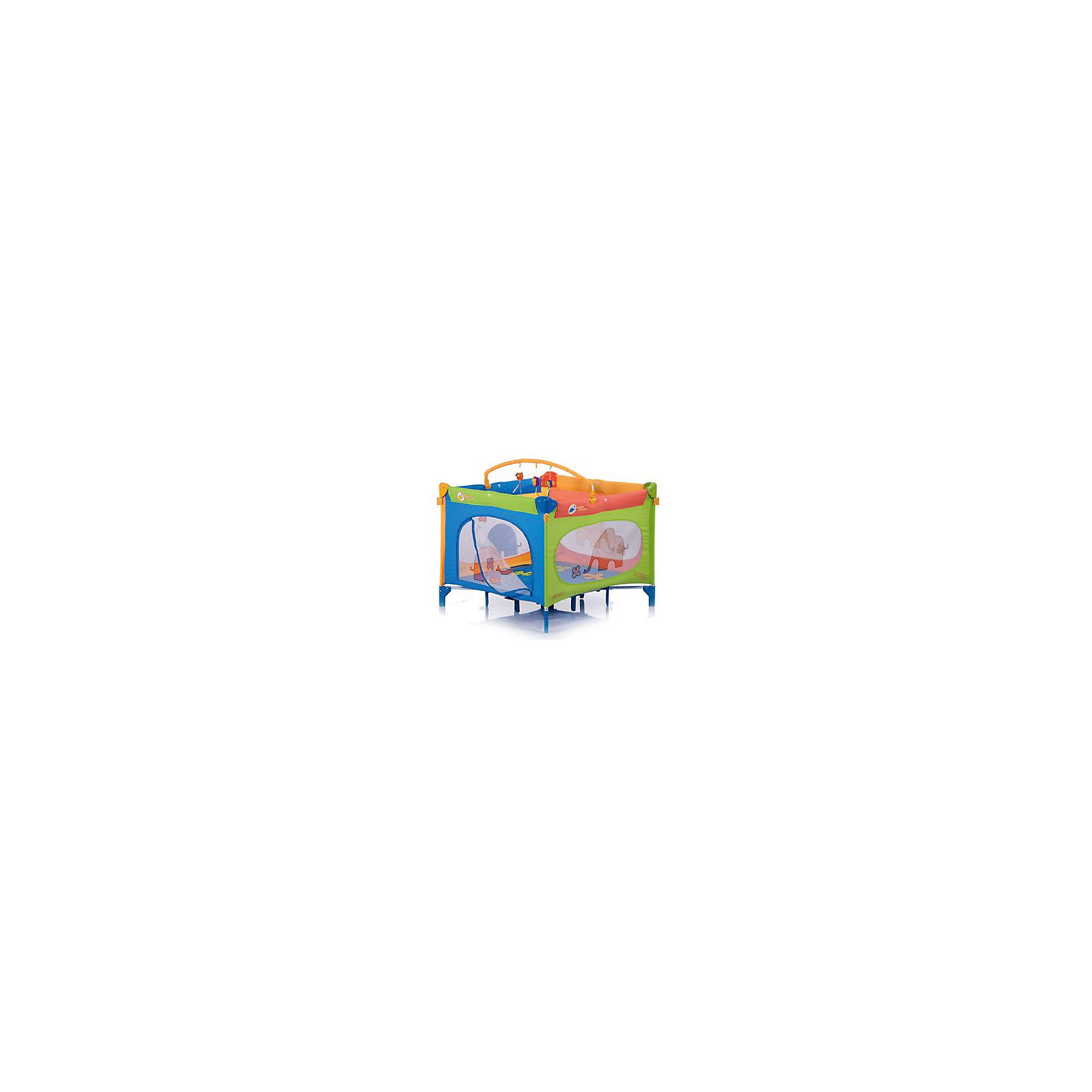 Манеж-квадрат Quadro, Jetem, Merry ElephantИгровые манежи<br>Характеристики товара:<br><br>• возраст с рождения до 3 лет;<br>• материал: каркас из металла и пластика, стенки из текстиля<br>• тип складывания: зонт с запирающим механизмом<br>• боковой лаз на молнии<br>• ручки-кольца для опоры ребёнка<br>• сетчатые смотровые окошки<br>• углы бортиков с защитными накладками<br>• замок-фиксатор от произволного складывания<br>• размер манежа 107х107х70 см;<br>• размер упаковки 90х27х27 см;<br>• вес упаковки 14 кг.<br><br>Манеж-квадрат Jetem Quadro — практичный манеж для игр и отдыха малыша. Дуга с игрушками обязательно привлечет внимание малыша. Играя с игрушками, у малыша развиваются хватательный рефлекс, тактильные ощущения, зрительное восприятие. Сетчатые боковые окошки обеспечивают циркуляцию воздуха. Через боковой лаз на молнии ребенок учится самостоятельно вылазить из манежа и возвращаться обратно. Манеж выполнен из безопасного для ребенка материала, простого в уходе. Углы бортиков закрыты пластиковыми накладками, предотвращающими случайные травмы. Специальный замок-фиксатор препятствует самопроизвольное складывание манежа. Конструкция отличается устойчивостью благодаря 4 ножкам и дополнительным опорам по центру.<br><br>Комплектация:<br><br>• манеж;<br>• дуга с игрушками;<br>• сумка для переноски.<br><br>Манеж-квадрат Jetem Quadro Merry Elephant можно приобрести в нашем интернет-магазине.<br><br>Ширина мм: 900<br>Глубина мм: 270<br>Высота мм: 270<br>Вес г: 14000<br>Возраст от месяцев: 0<br>Возраст до месяцев: 36<br>Пол: Унисекс<br>Возраст: Детский<br>SKU: 5493358