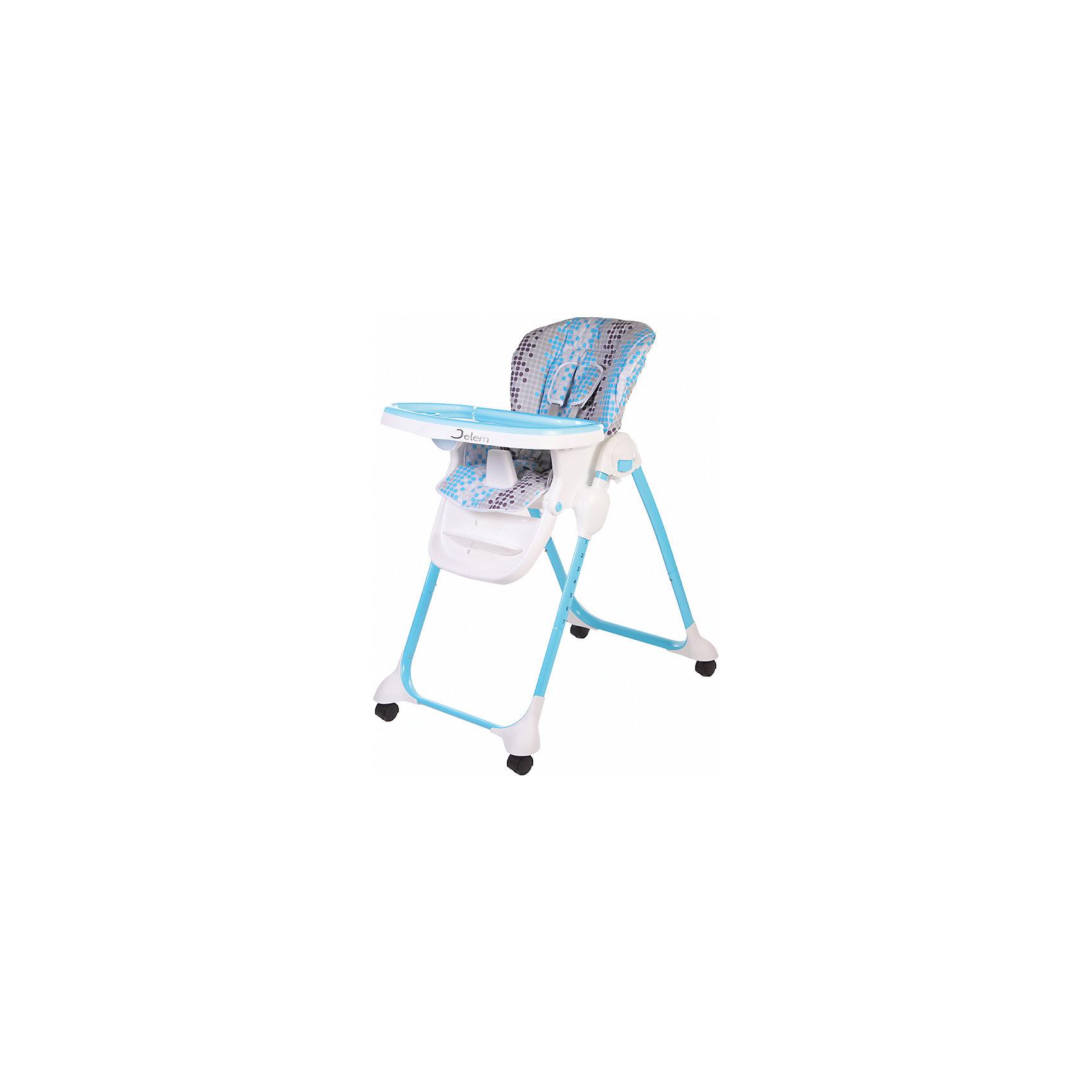 Стульчик Bon Appetit, Jetem, светло-синийJetem Bon Appetit – новый стульчик для кормления со съемной столешницей.Кресло стульчика регулируется в 7 положениях по высоте. Спинку можно разложить практически до лежачего положения.Стульчик произведен из отличного качественного пластика. Чехлы есть на выбор: тканевые или клеенчатые.<br>Стульчик Bon Appetit легко складывается и устойчив в сложенном положении.7 уровней высоты кресла·         4 положения наклона спинки·         3 положения подножки<br>·         5-ти точечные ремни безопасности и ограничитель·         3 положения глубины столешницы·         съемная дополнительная прозрачная столешница·         стульчик легко складывается и устойчив в сложенном виде·         4 колесаХарактеристики:·         Вес стульчика: 8.5 кг·         Размер стульчика в собранном состоянии: 97х60х120 см<br>·         Размер стульчика в сложенном состоянии: 43х60х105 см·         Ширина сиденья: 33 см·  Рекомендовано для детей от 6 месяцев до 6 лет<br><br>Ширина мм: 600<br>Глубина мм: 570<br>Высота мм: 290<br>Вес г: 10000<br>Возраст от месяцев: 6<br>Возраст до месяцев: 36<br>Пол: Унисекс<br>Возраст: Детский<br>SKU: 5493363