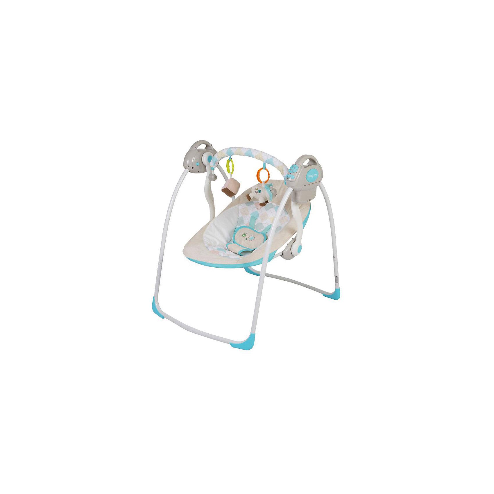 Электрокачели Riva с адаптером, Baby Care, синийКачели электронные<br>Характеристики товара:<br><br>• возраст с рождения до 6 месяцев;<br>• материал: металл, пластик, текстиль<br>• наклон спинки в 2 положениях;<br>• 6 скоростей укачивания;<br>• 10 мелодий и 3 уровня громкости;<br>• дуга с игрушками<br>• 5-ти точечные ремни безопасности;<br>• обивку сидения можно стирать в холодной воде<br>• съемный чехол сидения<br>• качели легко и компактно складываются<br><br>Электрокачели Baby Care Riva помогут молодой маме укачать и убаюкать кроху. Перед сном малыша успокоят приятные колыбельные. Дуга с подвесными игрушками развлечет малыша. Он может рассматривать их, трогать или играть с ними. Качели легко и компактно складываются для хранения дома. <br><br>Размер в разложенном виде 82х63х72 см<br>Размер в сложенном виде 79х63х24 см<br>Расстояние от пола до сидения 25 см<br>Размеры сидения 66х41 см<br>Вес электрокачелей 4,5 кг<br>Размер упаковки 60х38х13 см<br><br>Комплектация:<br><br>• качели;<br>• дуга с игрушками;<br>• сетевой адаптер.<br><br>Электрокачели Baby Care Riva с адаптером можно приобрести в нашем интернет-магазине.<br><br>Ширина мм: 600<br>Глубина мм: 380<br>Высота мм: 130<br>Вес г: 4500<br>Возраст от месяцев: 3<br>Возраст до месяцев: 6<br>Пол: Унисекс<br>Возраст: Детский<br>SKU: 5493367