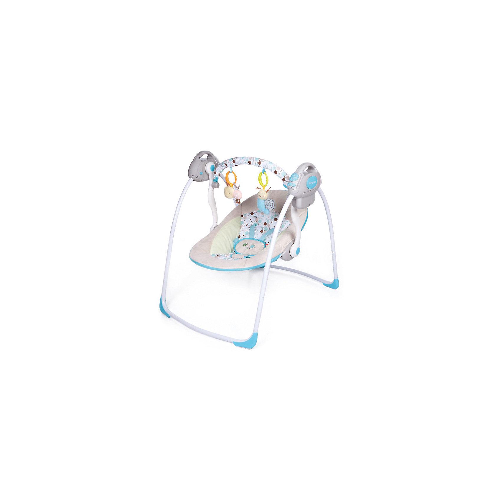 Электрокачели Riva с адаптером, Baby Care, шампаньКачели электронные<br>Характеристики товара:<br><br>• возраст с рождения до 6 месяцев;<br>• материал: металл, пластик, текстиль<br>• наклон спинки в 2 положениях;<br>• 6 скоростей укачивания;<br>• 10 мелодий и 3 уровня громкости;<br>• дуга с игрушками<br>• 5-ти точечные ремни безопасности;<br>• обивку сидения можно стирать в холодной воде<br>• съемный чехол сидения<br>• качели легко и компактно складываются<br><br>Электрокачели Baby Care Riva помогут молодой маме укачать и убаюкать кроху. Перед сном малыша успокоят приятные колыбельные. Дуга с подвесными игрушками развлечет малыша. Он может рассматривать их, трогать или играть с ними. Качели легко и компактно складываются для хранения дома. <br><br>Размер в разложенном виде 82х63х72 см<br>Размер в сложенном виде 79х63х24 см<br>Расстояние от пола до сидения 25 см<br>Размеры сидения 66х41 см<br>Вес электрокачелей 4,5 кг<br>Размер упаковки 60х38х13 см<br><br>Комплектация:<br><br>• качели;<br>• дуга с игрушками;<br>• сетевой адаптер.<br><br>Электрокачели Baby Care Riva с адаптером можно приобрести в нашем интернет-магазине.<br><br>Ширина мм: 600<br>Глубина мм: 380<br>Высота мм: 130<br>Вес г: 4500<br>Возраст от месяцев: 3<br>Возраст до месяцев: 6<br>Пол: Унисекс<br>Возраст: Детский<br>SKU: 5493368