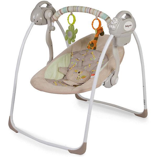 Электрокачели Riva с адаптером, Baby Care, кофейныйЭлектронные качели<br>Характеристики товара:<br><br>• возраст с рождения до 6 месяцев;<br>• материал: металл, пластик, текстиль<br>• наклон спинки в 2 положениях;<br>• 6 скоростей укачивания;<br>• 10 мелодий и 3 уровня громкости;<br>• дуга с игрушками<br>• 5-ти точечные ремни безопасности;<br>• обивку сидения можно стирать в холодной воде<br>• съемный чехол сидения<br>• качели легко и компактно складываются<br><br>Электрокачели Baby Care Riva помогут молодой маме укачать и убаюкать кроху. Перед сном малыша успокоят приятные колыбельные. Дуга с подвесными игрушками развлечет малыша. Он может рассматривать их, трогать или играть с ними. Качели легко и компактно складываются для хранения дома. <br><br>Размер в разложенном виде 82х63х72 см<br>Размер в сложенном виде 79х63х24 см<br>Расстояние от пола до сидения 25 см<br>Размеры сидения 66х41 см<br>Вес электрокачелей 4,5 кг<br>Размер упаковки 60х38х13 см<br><br>Комплектация:<br><br>• качели;<br>• дуга с игрушками;<br>• сетевой адаптер.<br><br>Электрокачели Baby Care Riva с адаптером можно приобрести в нашем интернет-магазине.<br><br>Ширина мм: 600<br>Глубина мм: 380<br>Высота мм: 130<br>Вес г: 4500<br>Возраст от месяцев: 3<br>Возраст до месяцев: 6<br>Пол: Унисекс<br>Возраст: Детский<br>SKU: 5493369
